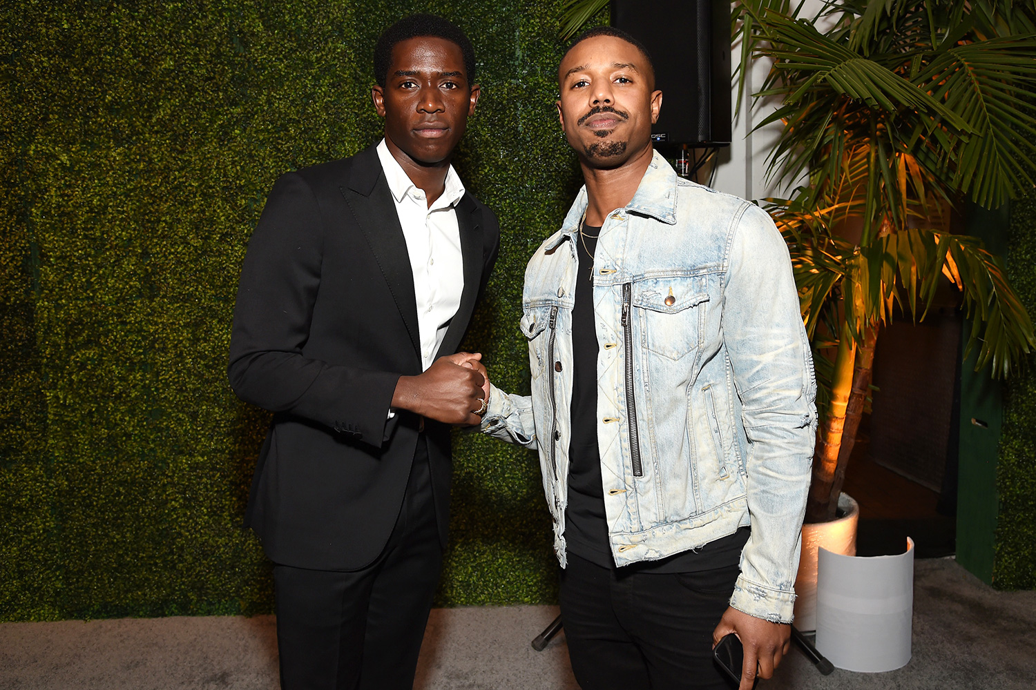Damson Idris and Michael B. Jordan attend Grey Goose Toasts To A Year Of Victorious Filmmaking at The MACRO Pre-Oscars Party at Fig & Olive on February 06, 2020 in West Hollywood, California