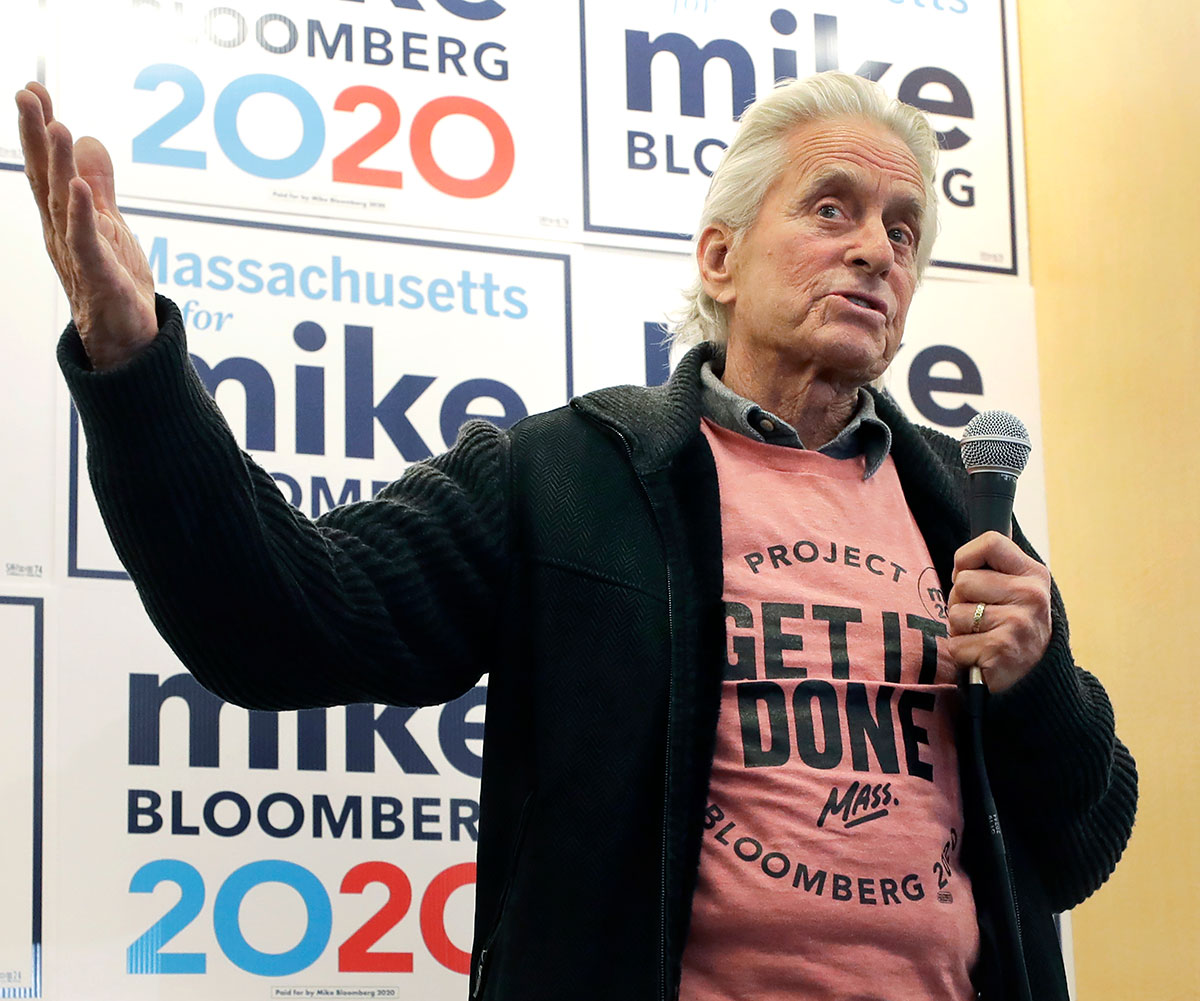 Actor Michael Douglas addresses an audience while speaking in support of Democratic presidential candidate and former New York City Mayor Mike Bloomberg at a Bloomberg campaign office, in Quincy, Mass Election 2020