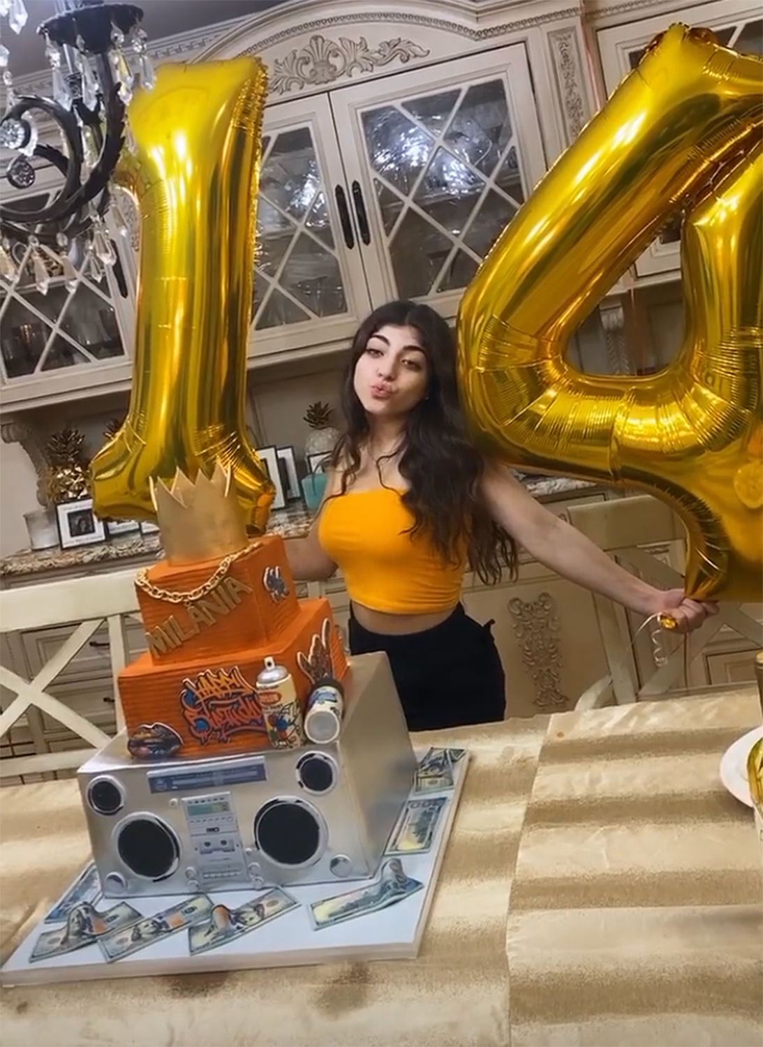Astonishing Teresa Giudice Gets Milania Blinged Out Cake For 14Th Birthday Personalised Birthday Cards Arneslily Jamesorg