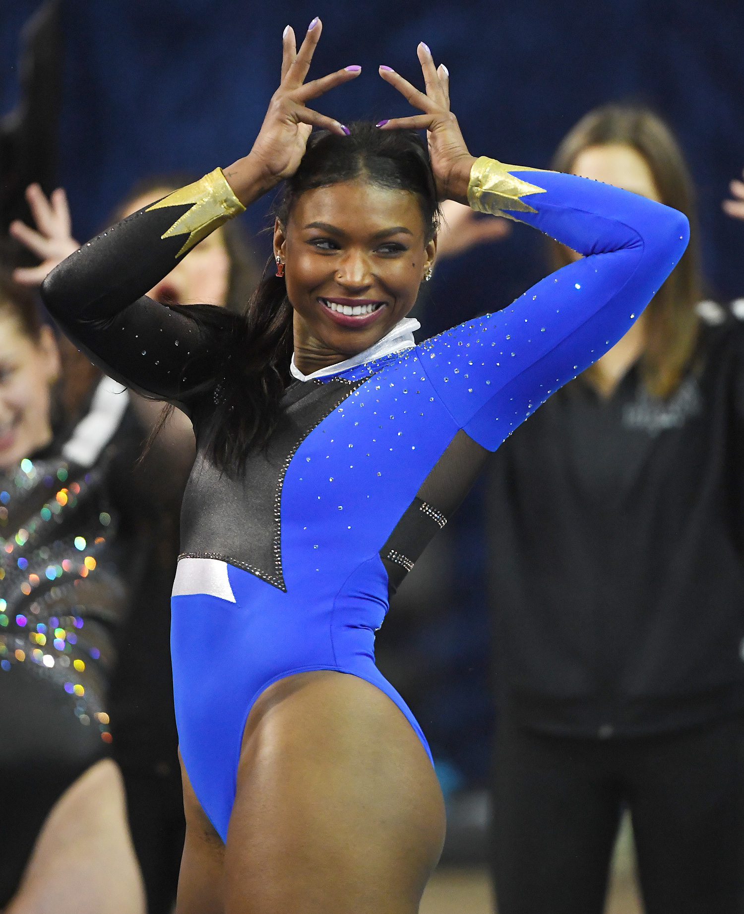 Nia Dennis performs the floor exercise during UCLA Gymnastics Meet the Bruins intra squad event at Pauley Pavilion on December 14, 2019 in Los Angeles, California