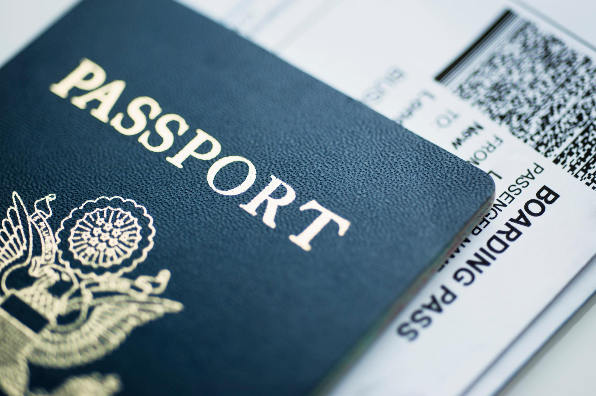 American passport with boarding passes