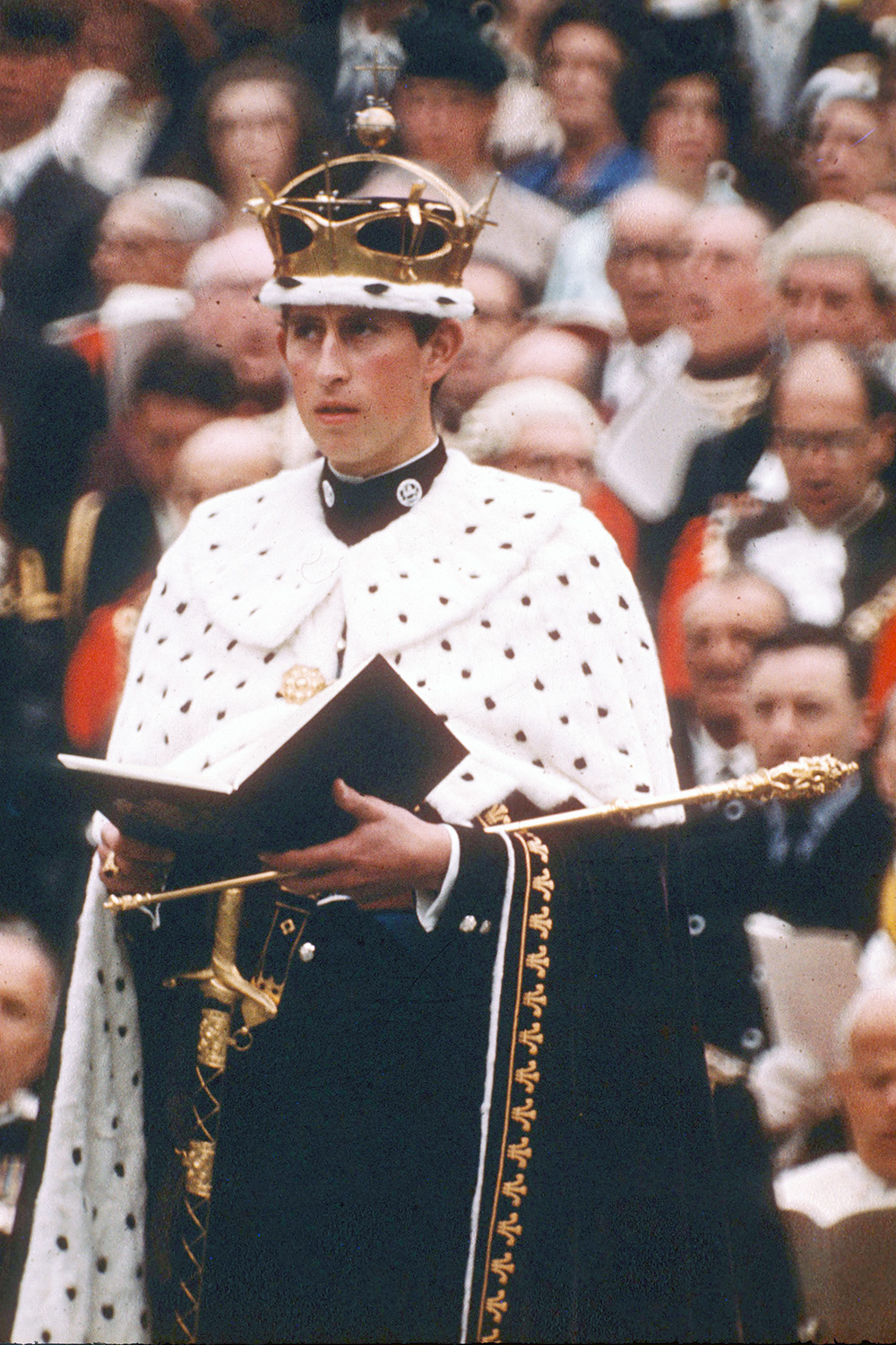 Prince Charles, Prince of Wales in his investiture robes at Caernarvon Castle on July 1, 1969