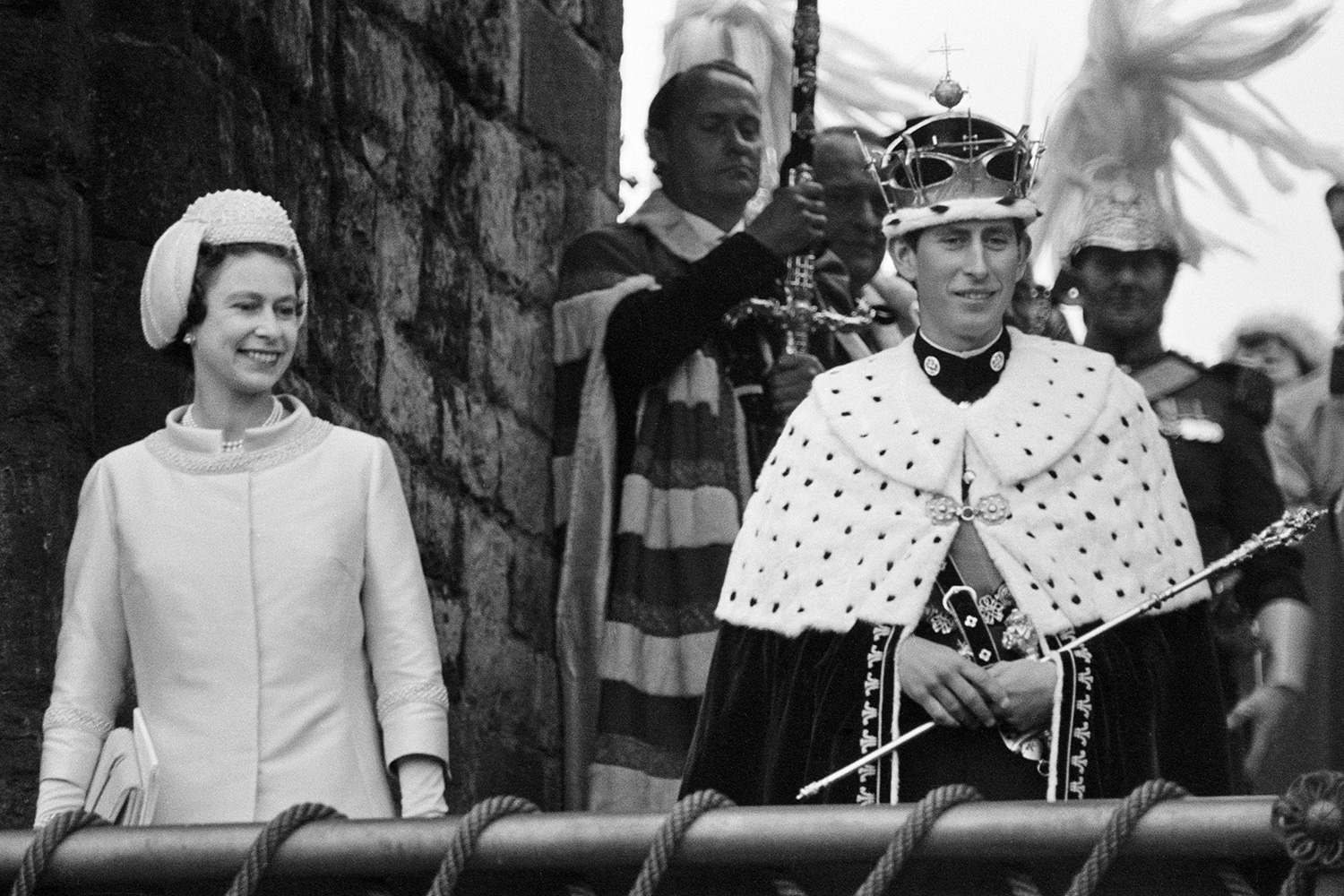 The Investiture of Prince Charles at Caernarfon Castle, Caernarfon, Wales, Pictured, Prince Charles, newly installed as Prince of Wales, is presented to his people on a balcony at Queen Eleanor's Gate of Caernarfon Castle, with Queen Elizatheth II, 1st July 1969