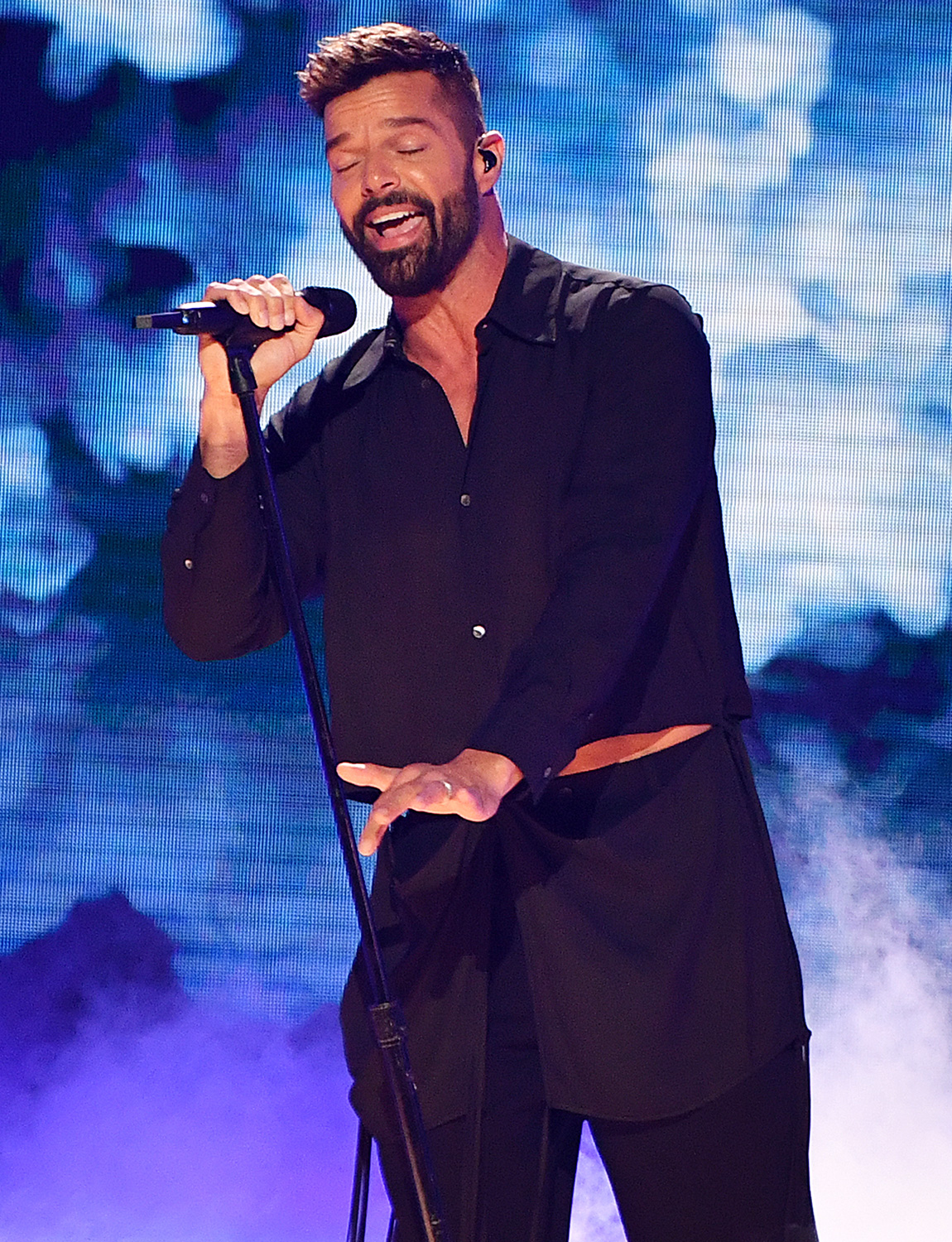 Ricky Martin performs live on stage at Univision's Premio Lo Nuestro 2020 at AmericanAirlines Arena on February 20, 2020 in Miami, Florida