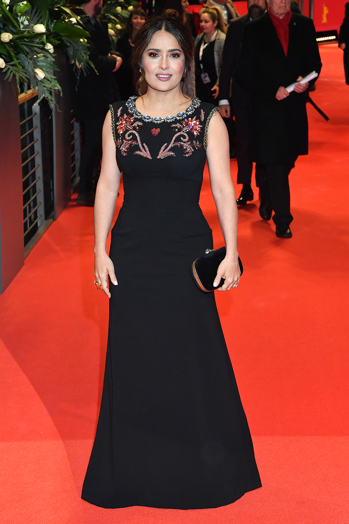 """Salma Hayek poses at the """"The Roads Not Taken"""" premiere during the 70th Berlinale International Film Festival Berlin at Berlinale Palace on February 26, 2020"""