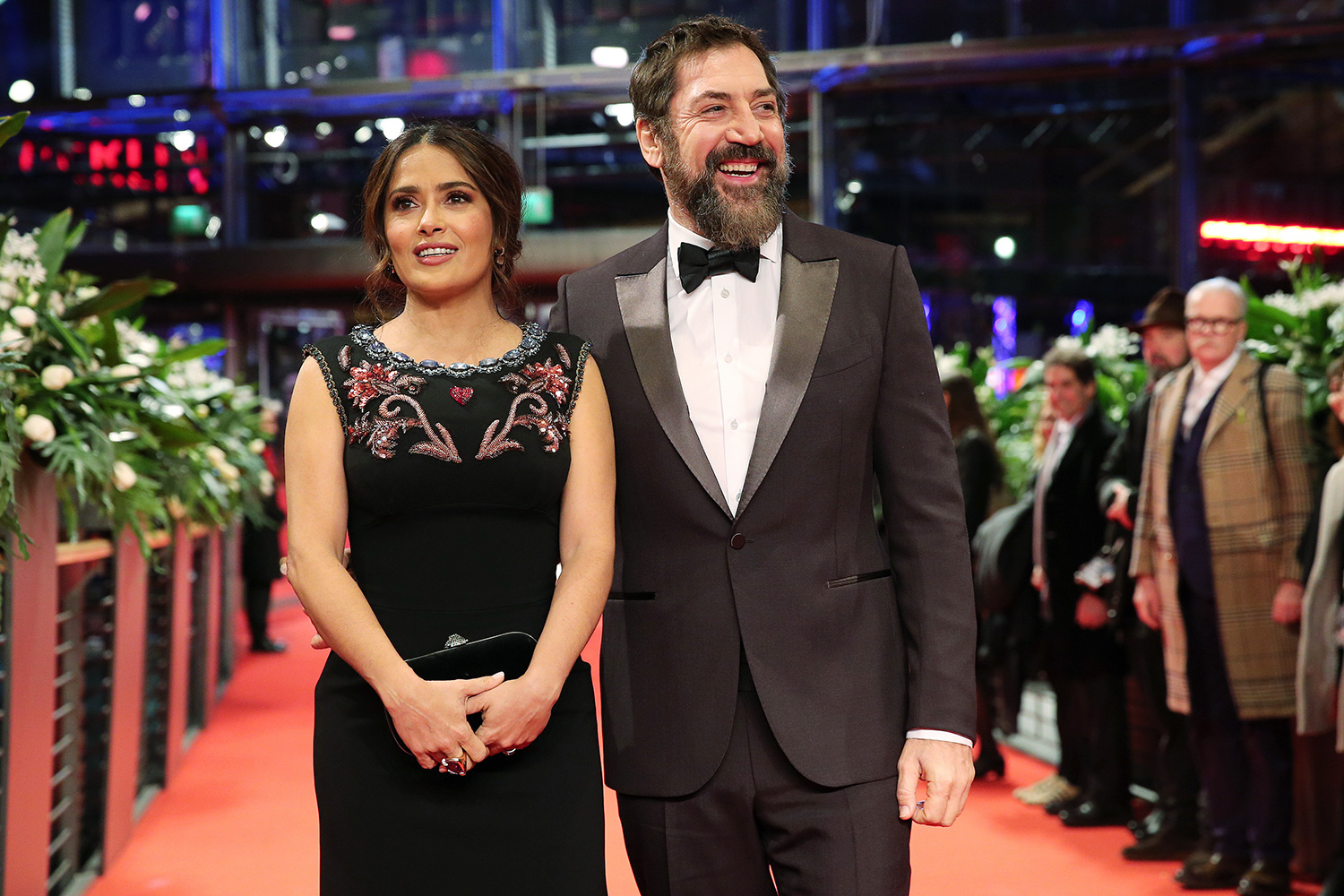 "Salma Hayek and Javier Bardem pose at the ""The Roads Not Taken"" premiere during the 70th Berlinale International Film Festival Berlin at Berlinale Palace on February 26, 2020 in Berlin, Germany"