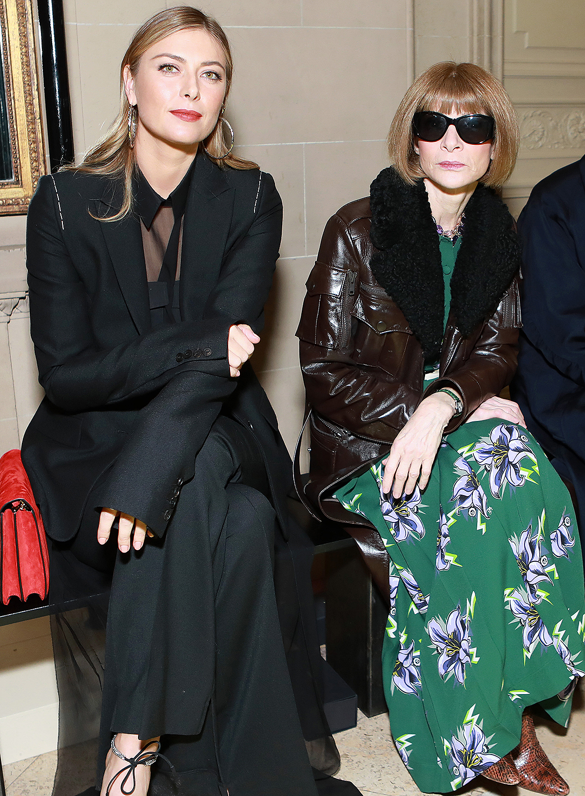 Maria Sharapova, Anna Wintour and Hamish Bowles attend the Vera Wang fashion show during February 2020