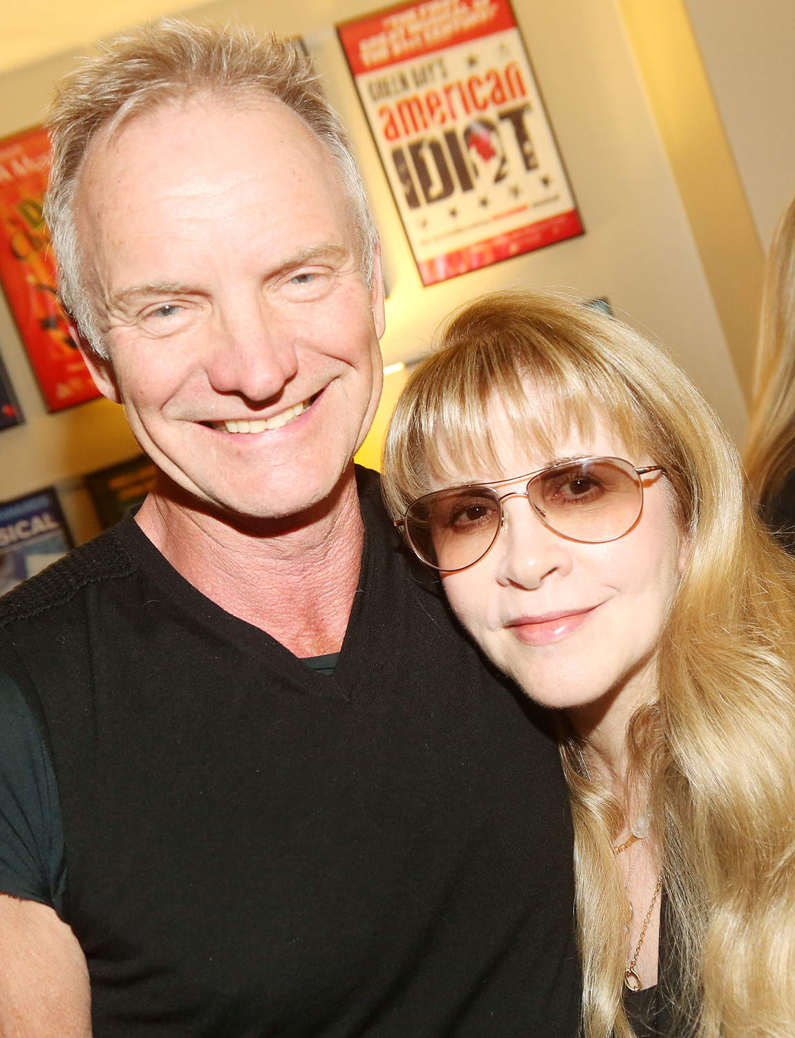 """Sting and Stevie Nicks pose backstage at the musical """"The Last Ship"""" at The Ahmanson Theatre on February 11, 2020 in Los Angeles, California"""