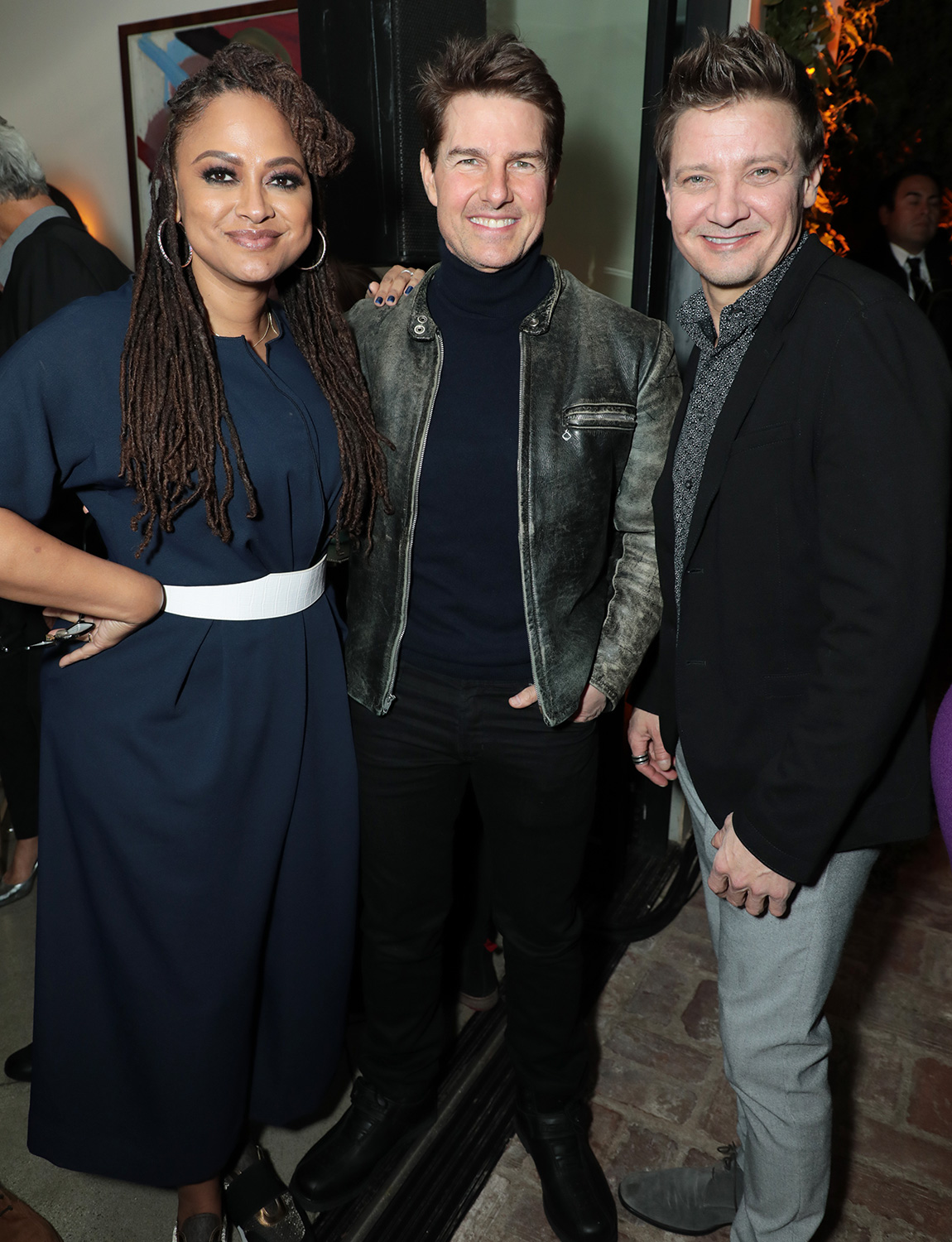 Ava DuVernay, Tom Cruise and Jeremy Renner attend the CAA Pre-Oscar Party, at San Vicente Bungalows in West Hollywood on February 7, 2020.