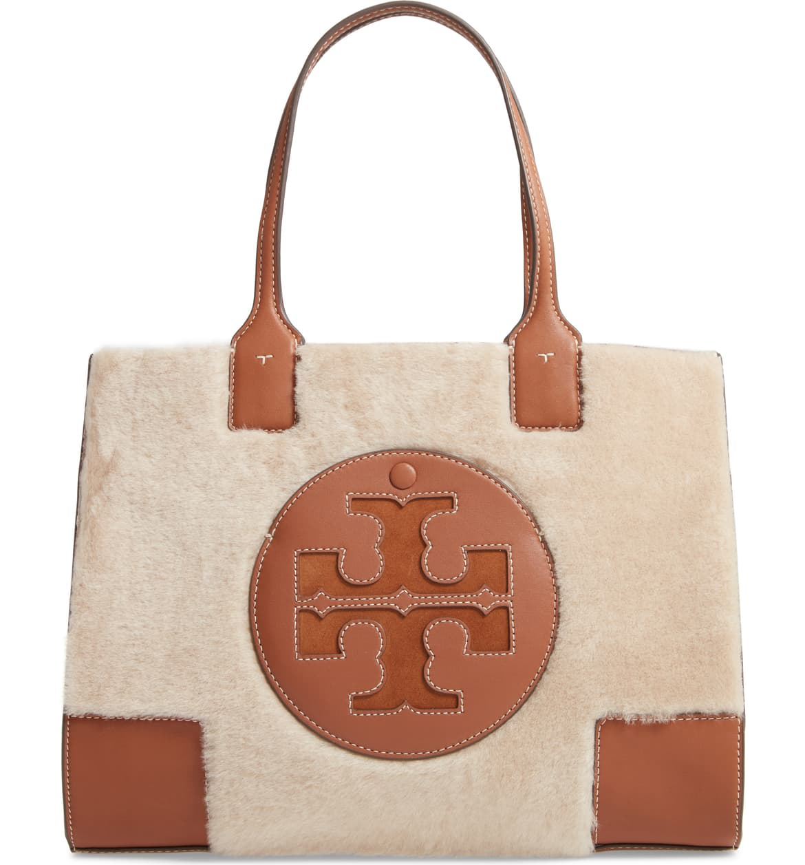 tory burch shearling tote with brown leather detail nordstrom winter sale