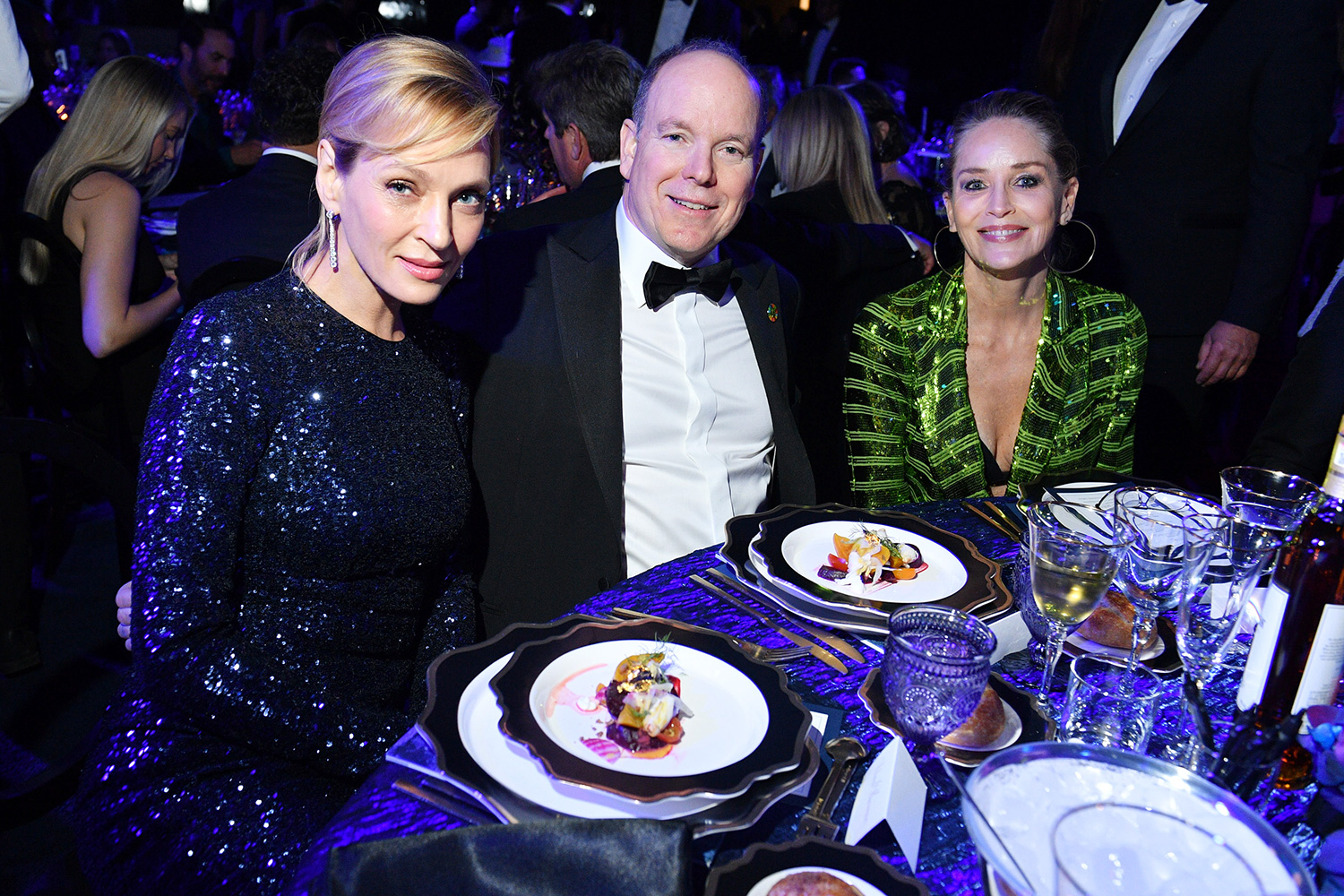 Uma Thurman, Prince Albert II of Monaco and Sharon Stone attends 2020 Hollywood For The Global Ocean Gala Honoring HSH Prince Albert II Of Monaco at Palazzo di Amore on February 06, 2020 in Beverly Hills, California
