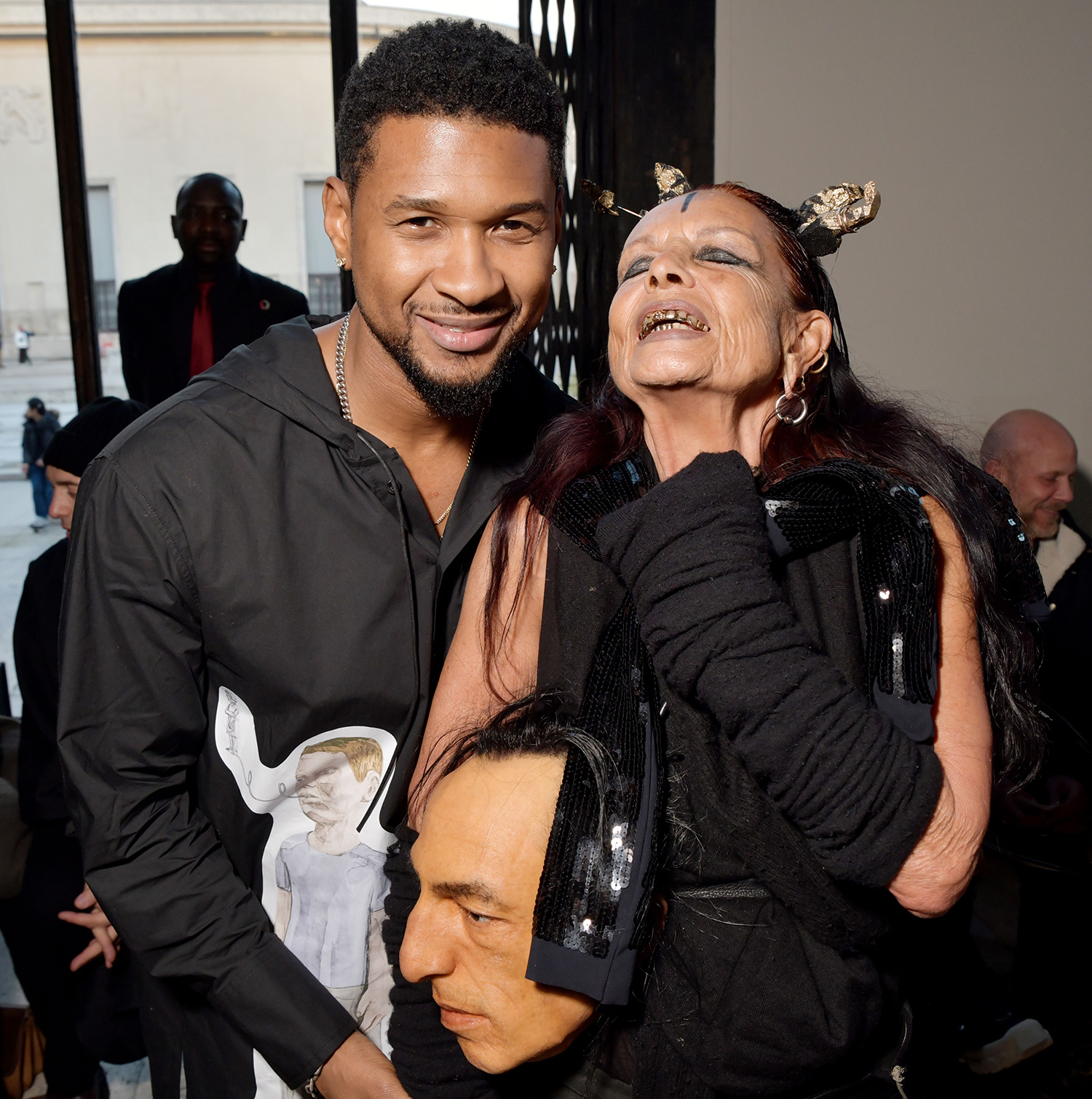 Usher and Michele Lamy in the front row Rick Owens show, Front Row, Fall Winter 2020, Paris Fashion Week, France - 27 Feb 2020