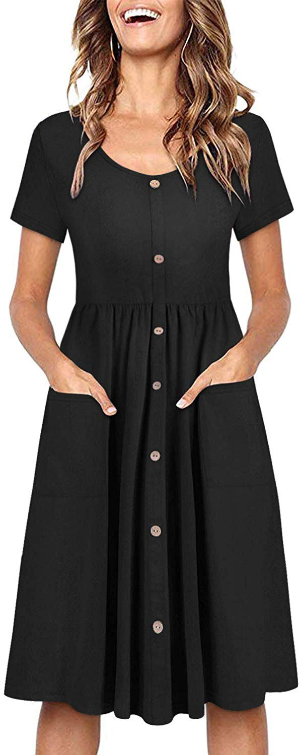 Ouges Women's Long Sleeve V-Neck Button Down Skater Dress with Pockets