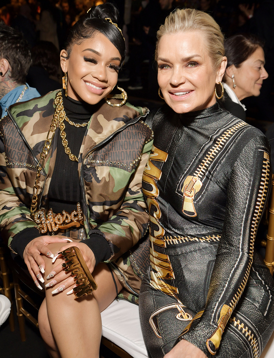 Saweetie and Yolanda Hadid in the front row Moschino show, Front Row, Fall Winter 2020, Milan Fashion Week, Italy - 20 Feb 2020