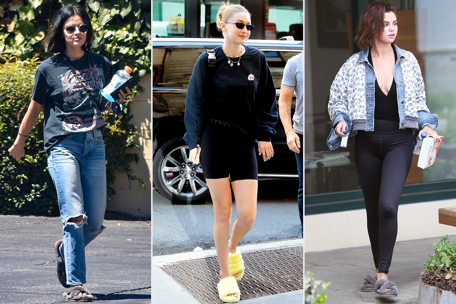 lucy hale; gigi hadid; selena gomez; The Fluffy Sandals Celebs Love Are On Sale at Nordstrom