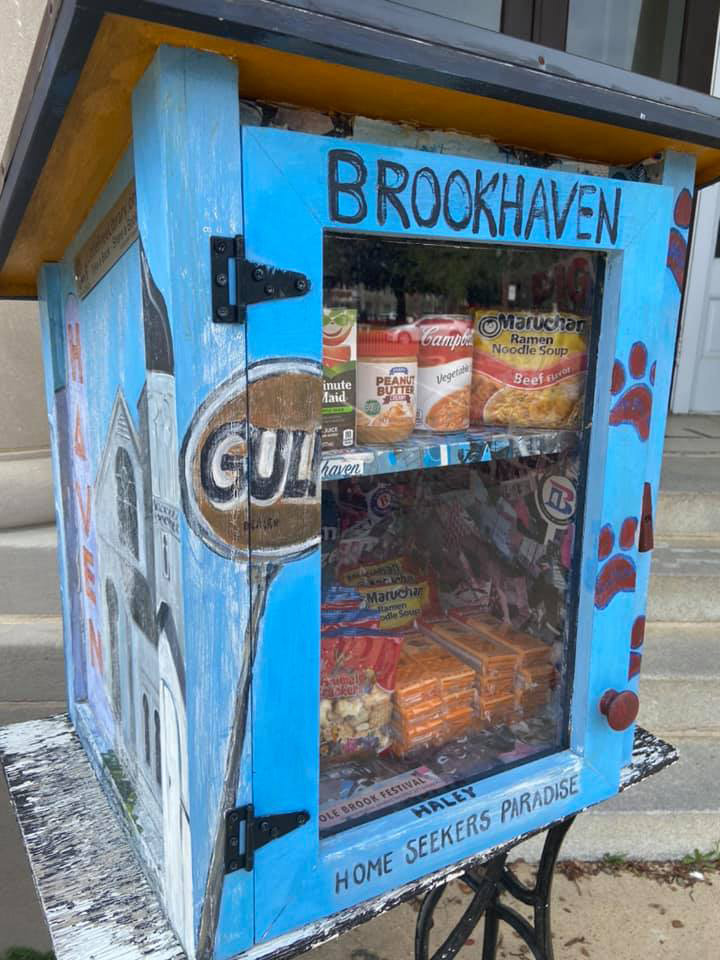Brookhaven Little Free Library Stocked with Shelf Stable Foods during the COVID-19 Outbreak