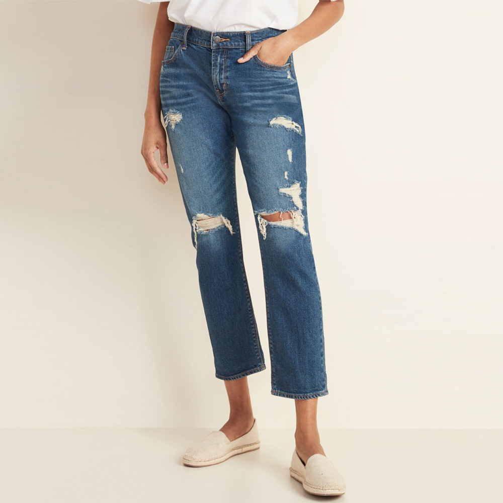 Women's Mid-Rise Distressed Boyfriend Straight Jeans