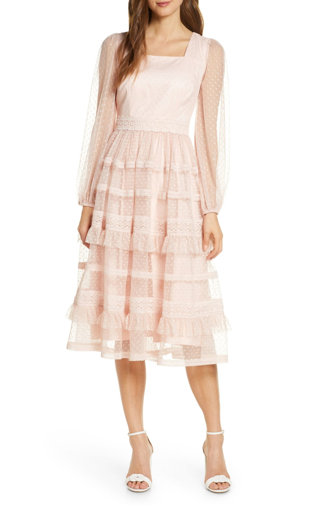 Rachel Parcell Tiered Ruffle Long Sleeve Lace Midi Dress