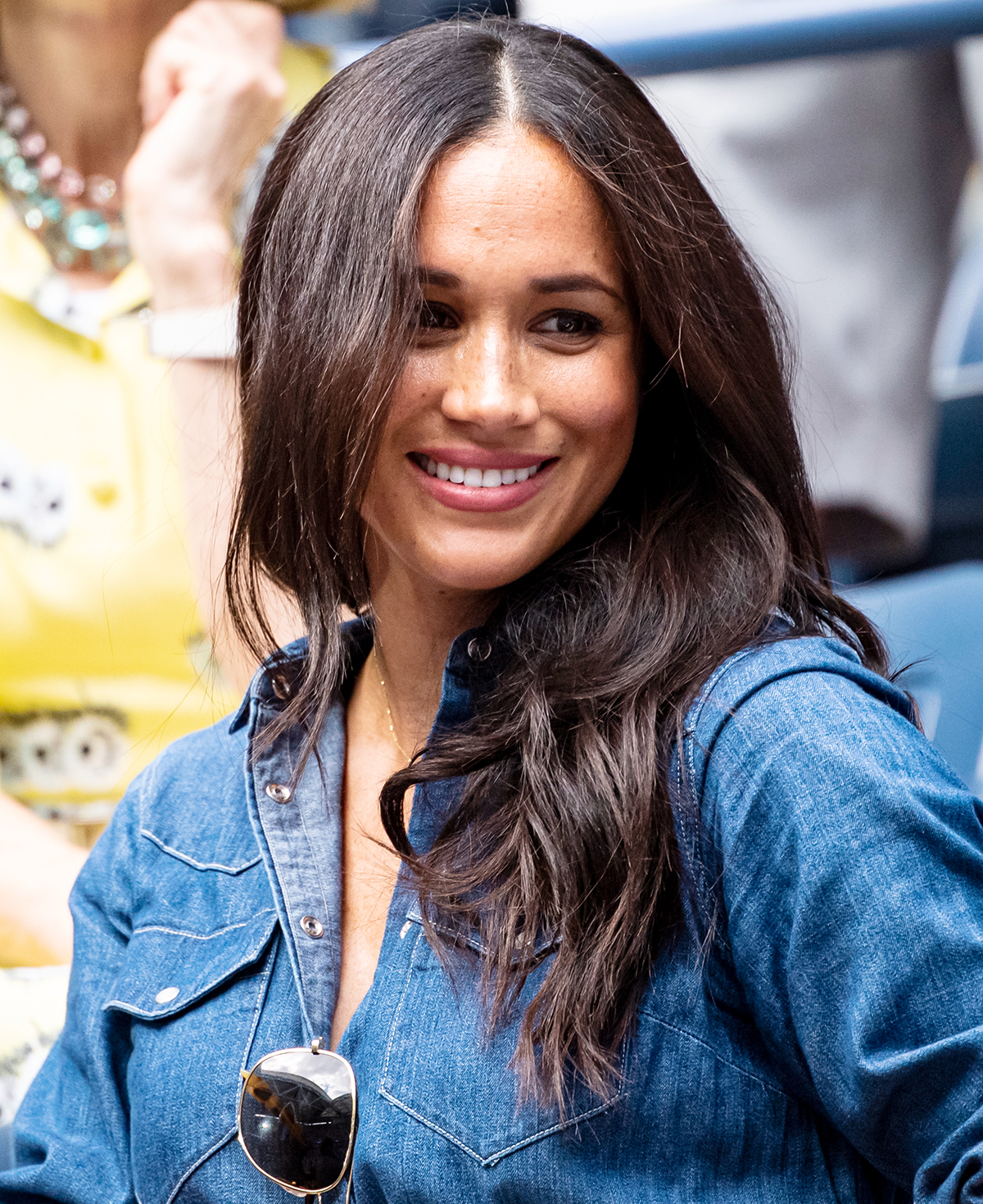Megan Markle, The Duchess of Sussex, watches Serena Williams of the United States in action against Bianca Andreescu of Canada at Arthur Ashe Stadium at the USTA Billie Jean King National Tennis Center on September 07, 2019