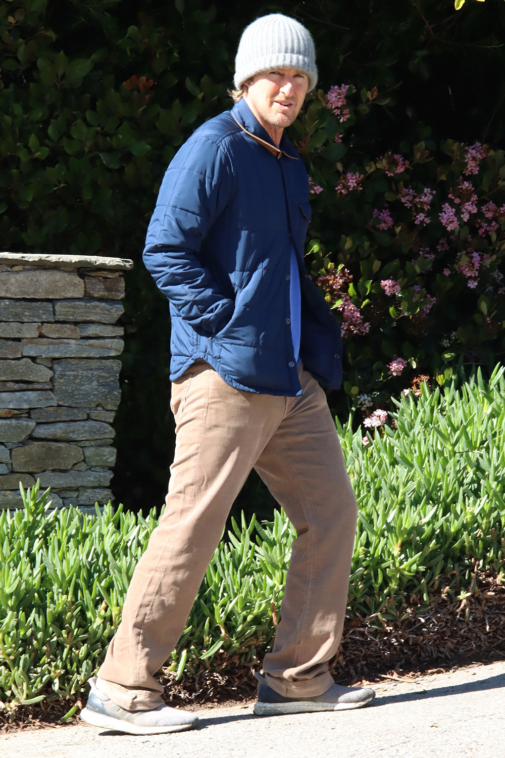 Owen Wilson seen with his labrador pup on walk during lockdown