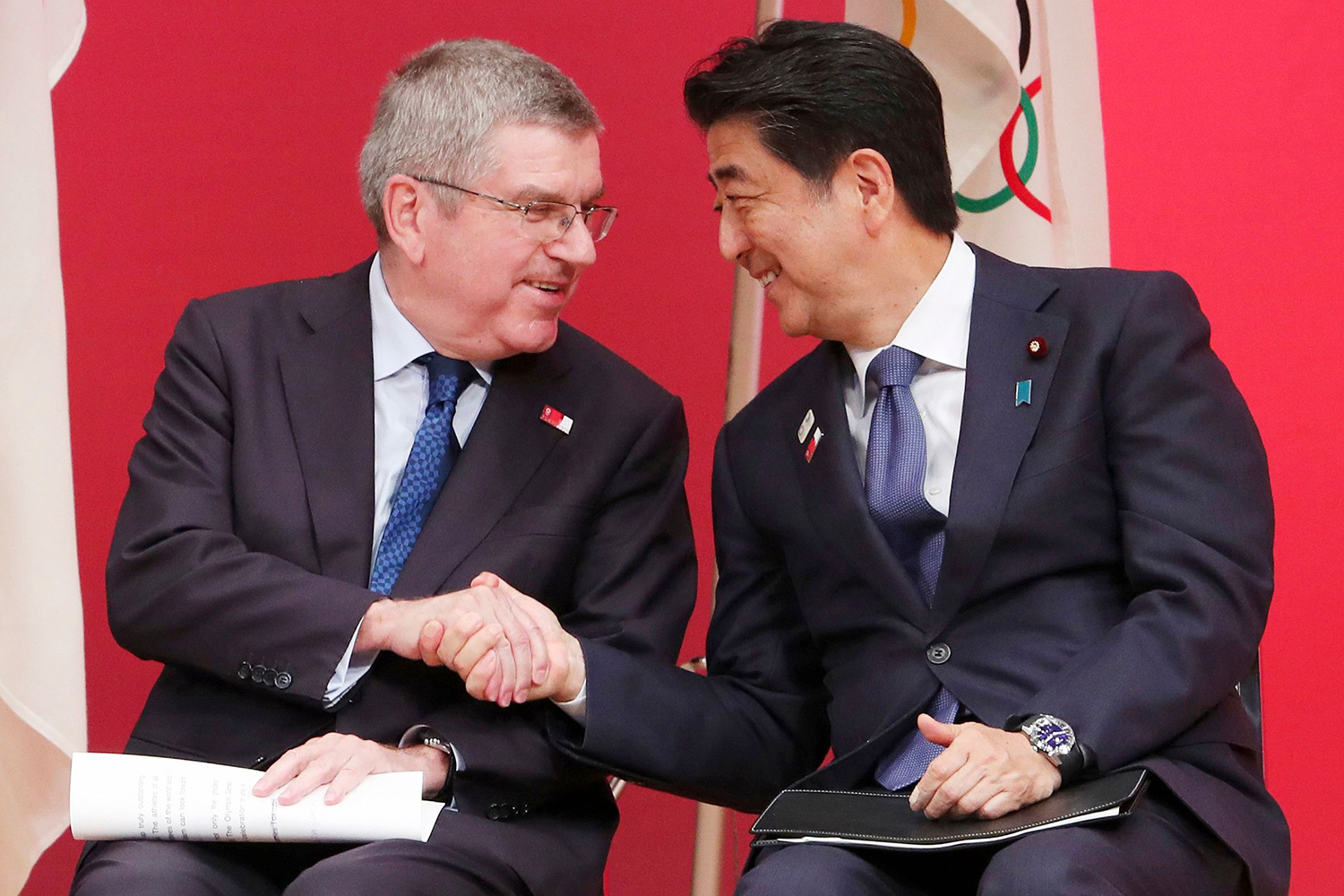 International Olympic Committee (IOC) President Thomas Bach and Japanese Prime Minister Shinzo Abe