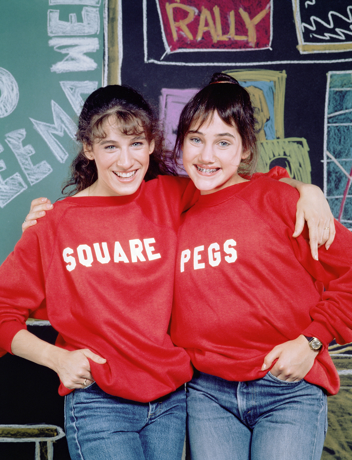 Square Pegs, a CBS situation comedy, featuring (from left) Sarah Jessica Parker as Patty Greene and Amy Linker as Lauren Hutchinson