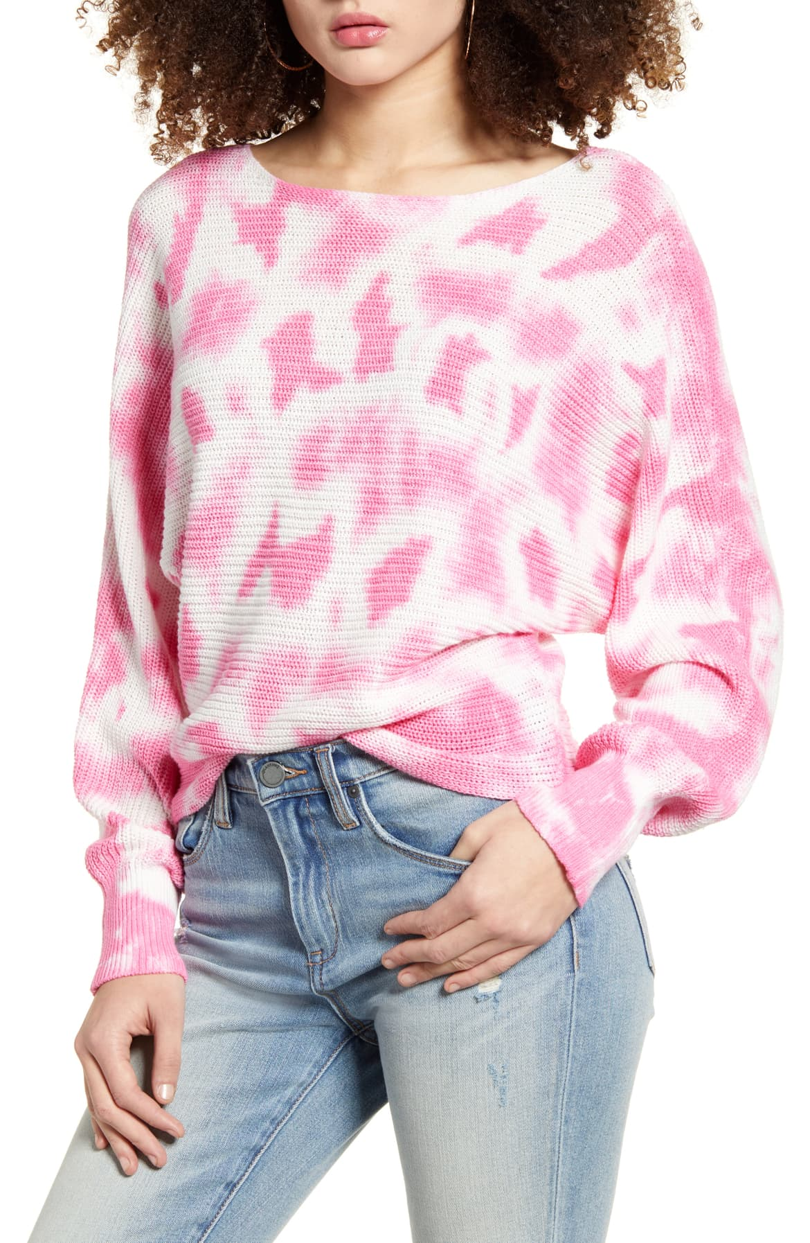 bp pink and white tie dye sweater nordstrom