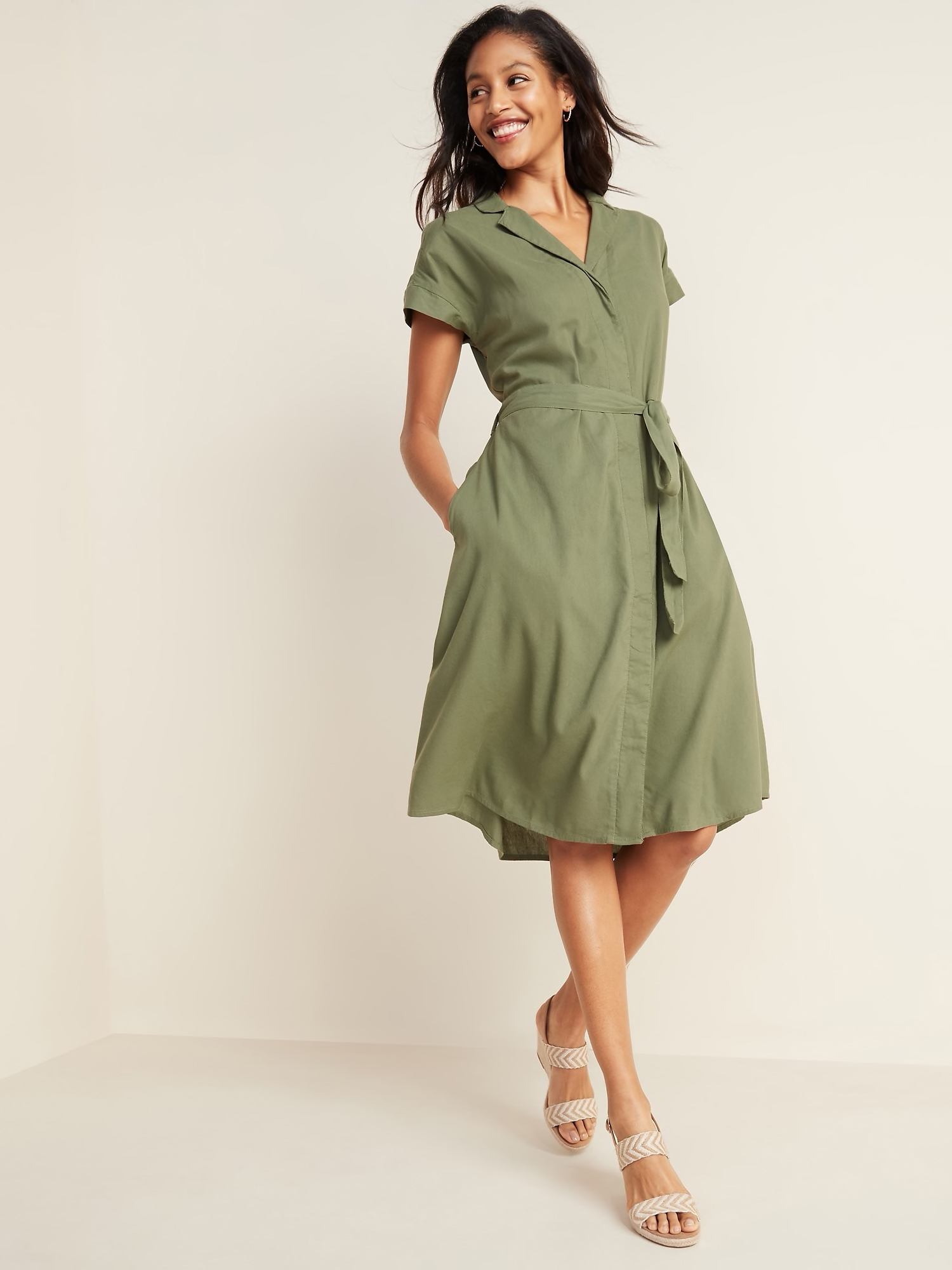 Waist-Defined Tie-Belt Shirt Dress for Women