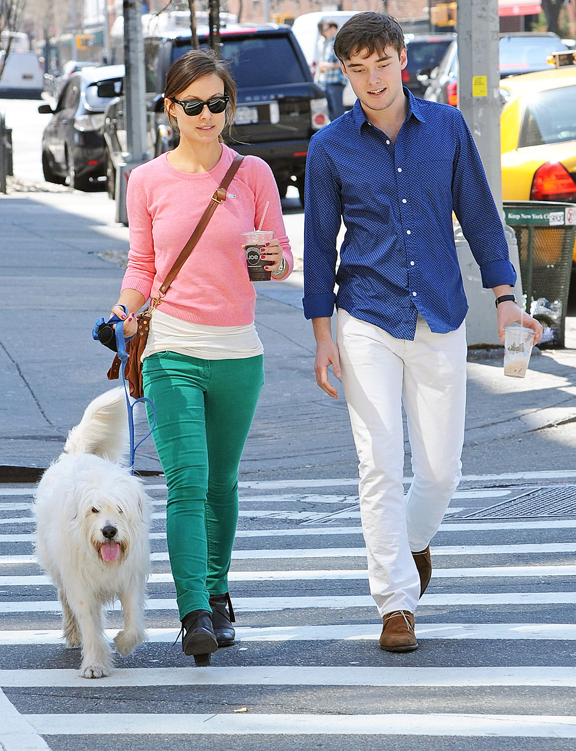 Olivia Wilde strolls through the West Village with brother Charlie and pooch Paco