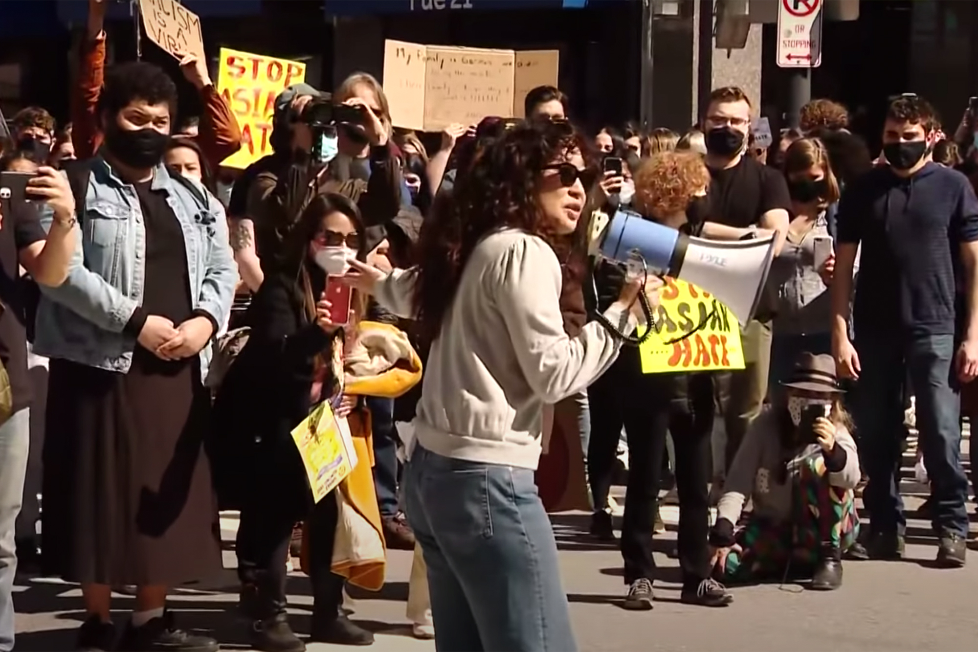 Sandra Oh speaks at a Stop Asian Hate rally