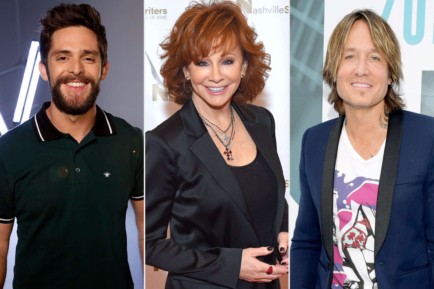 Thomas Rhett, Reba McEntire, Keith Urban