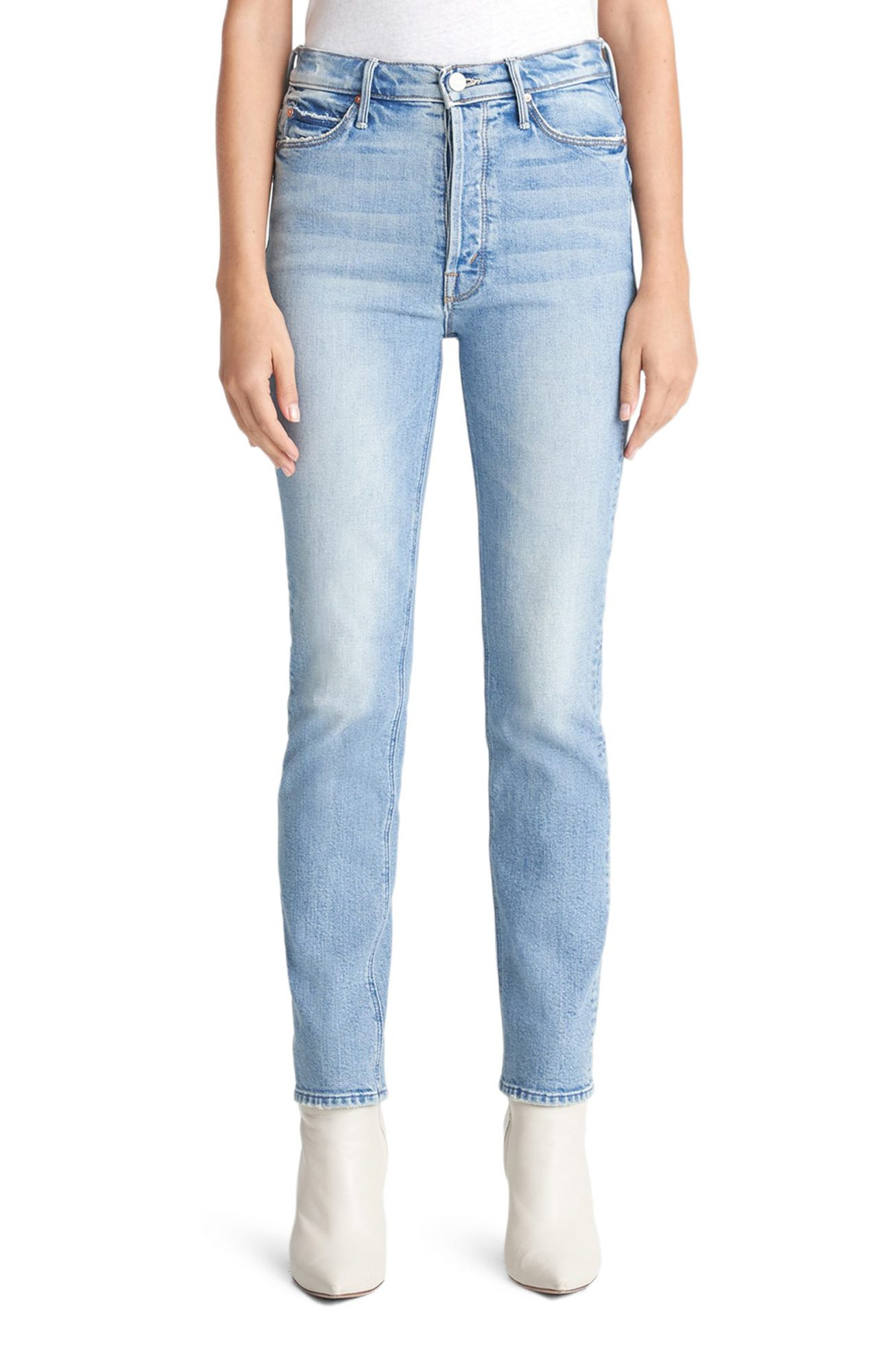 Mother The Dazzler Heart Patch Ankle Straight Leg Jeans