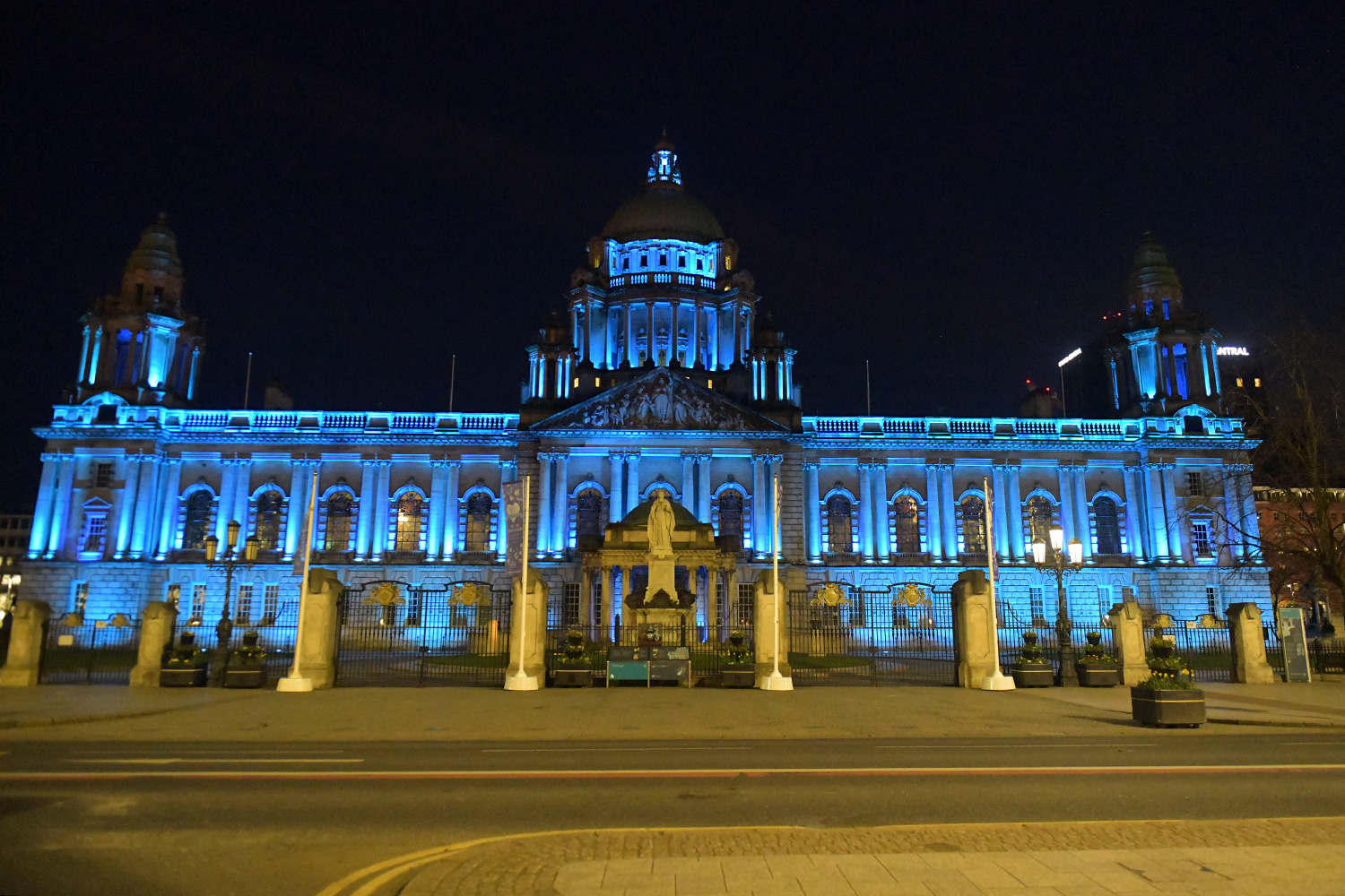 Belfast City Hall Lit Up In Blue In Support Of The NHS