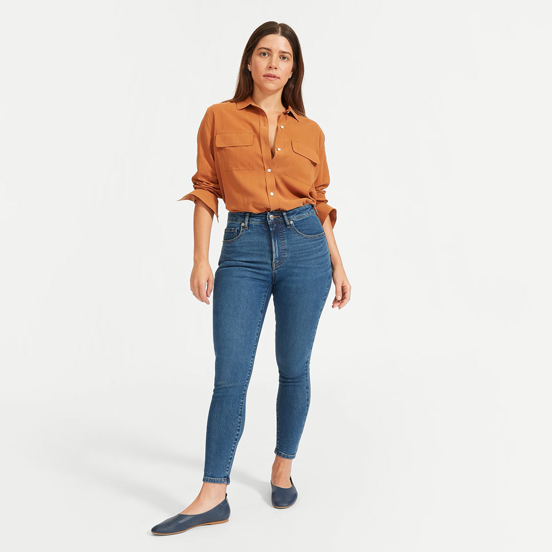 Everlane The Curvy Authentic Stretch High-Rise Skinny Jean in Mid Blue