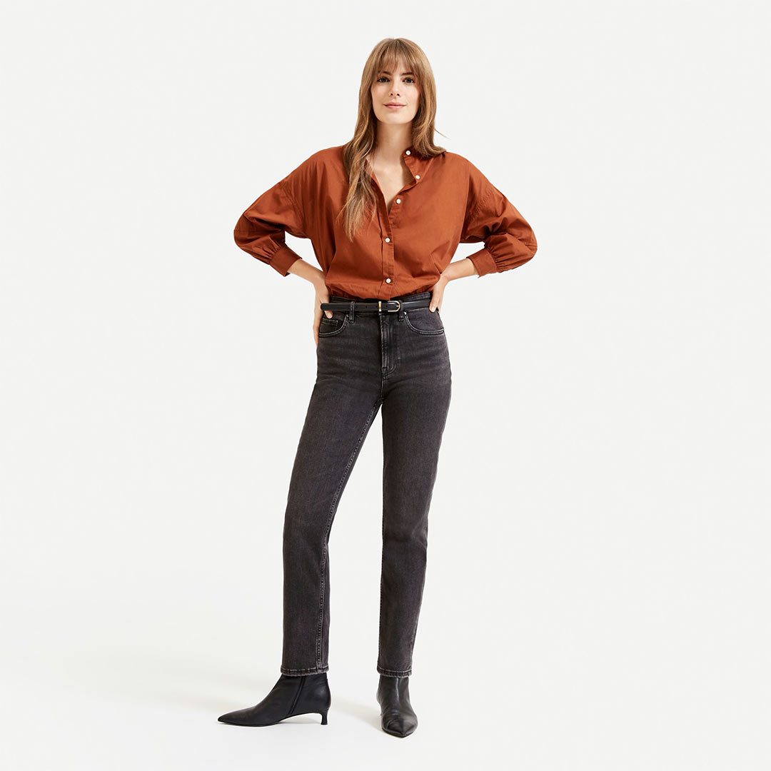 Everlane The Super-Straight Jean in Washed Black