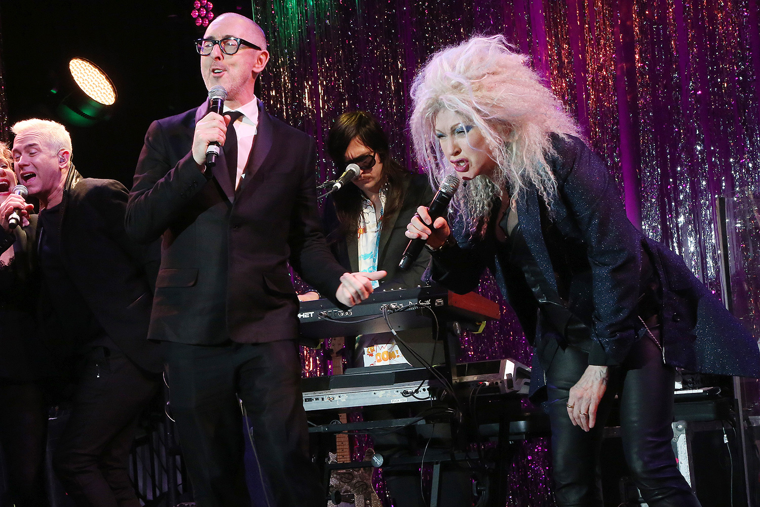Alan Cumming and Cyndi Lauper perform at the 2020 Roundabout Theater Gala honoring Alan Cumming, Michael Kors & Lance LePere at The Ziegfeld Ballroom on March 2, 2020 in New York City