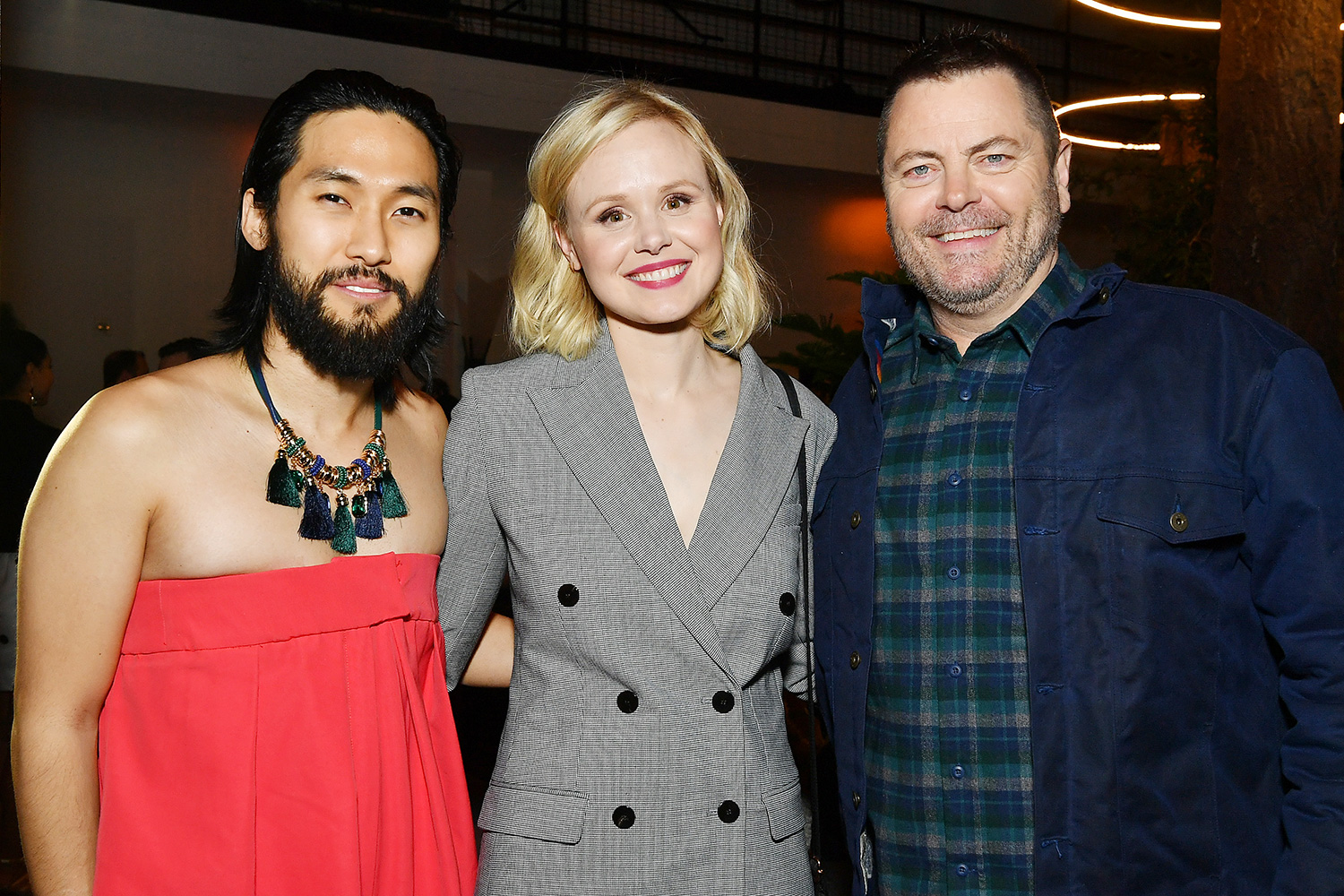 """Jin Ha, Alison Pill and Nick Offerman attend the after party for the premiere of FX's """"Devs"""" on March 02, 2020 in Hollywood, California"""