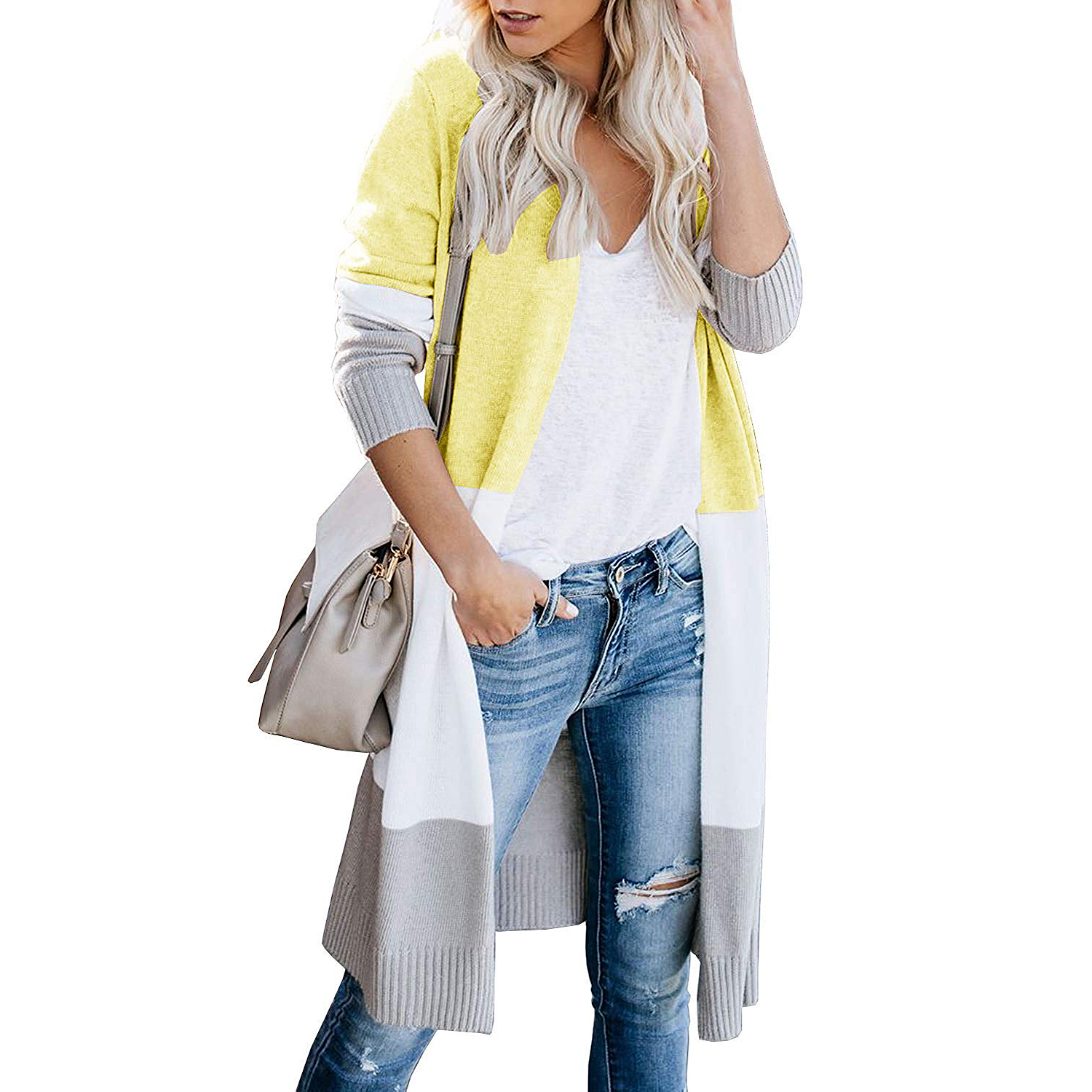 Women's Boho Open Colorblock Cardigan
