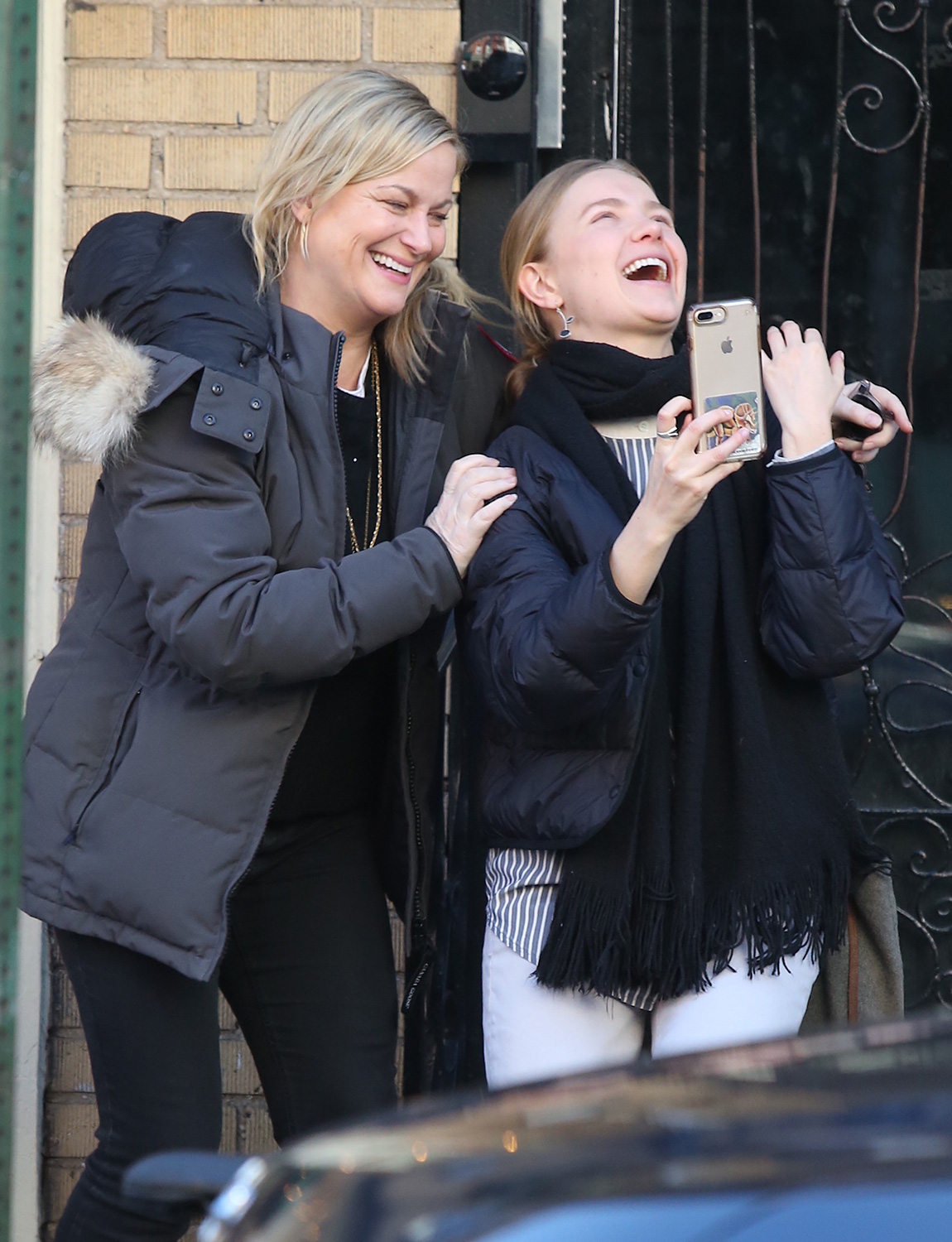 Amy Poehler meeting a friend for lunch in the West Village and then taking a selfie afterwards