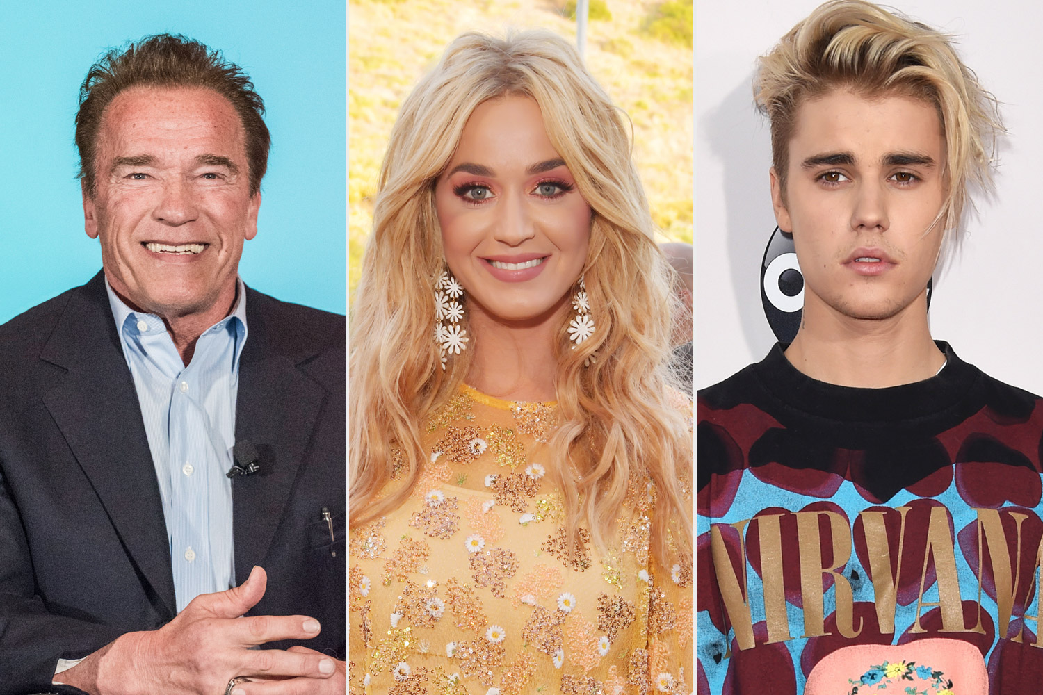 Justin Bieber, Katy Perry and Arnold Schwarzenegger