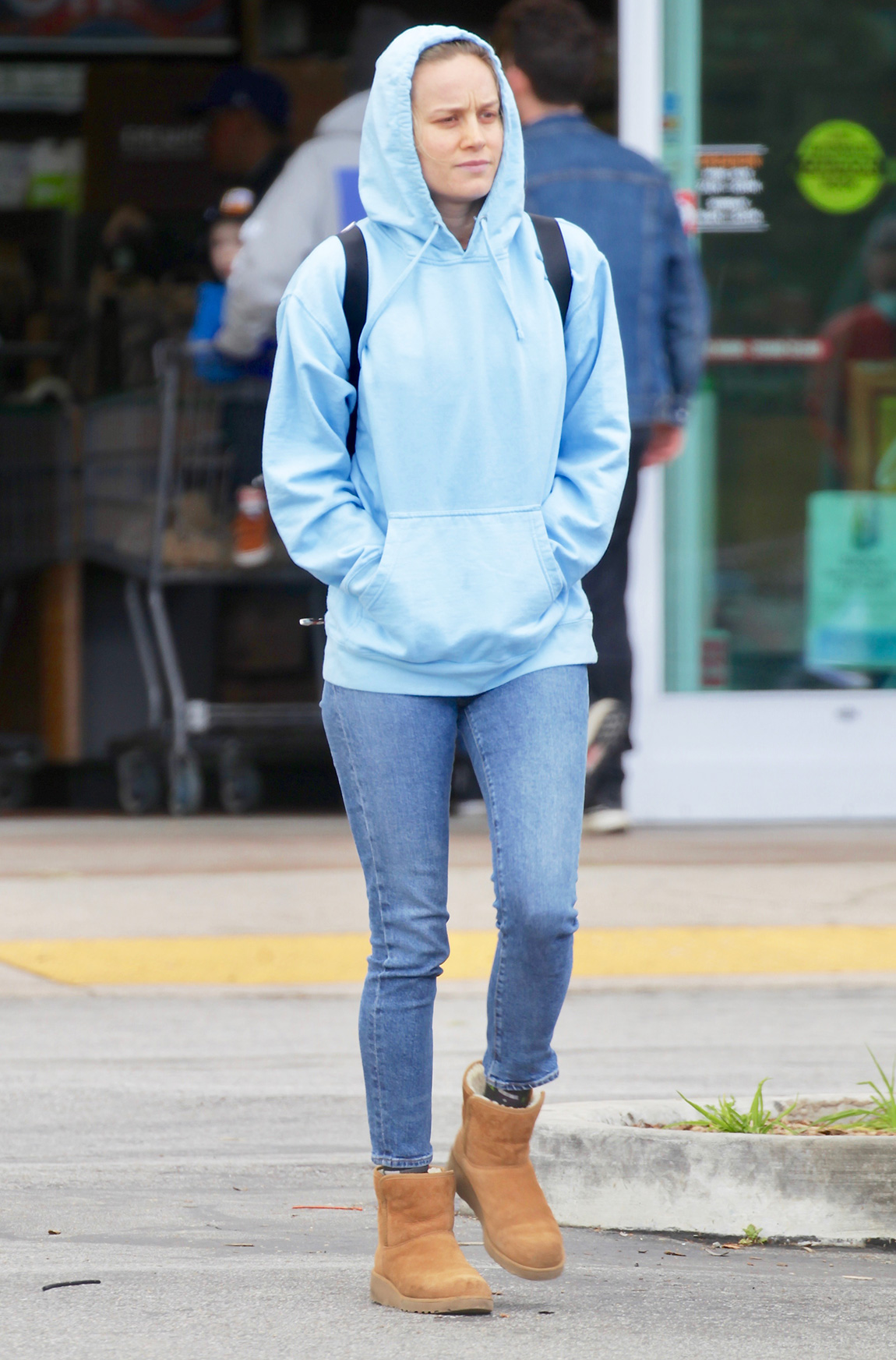Brie Larson is Spotted Leaving Whole Foods Empty Handed in Los Angeles.