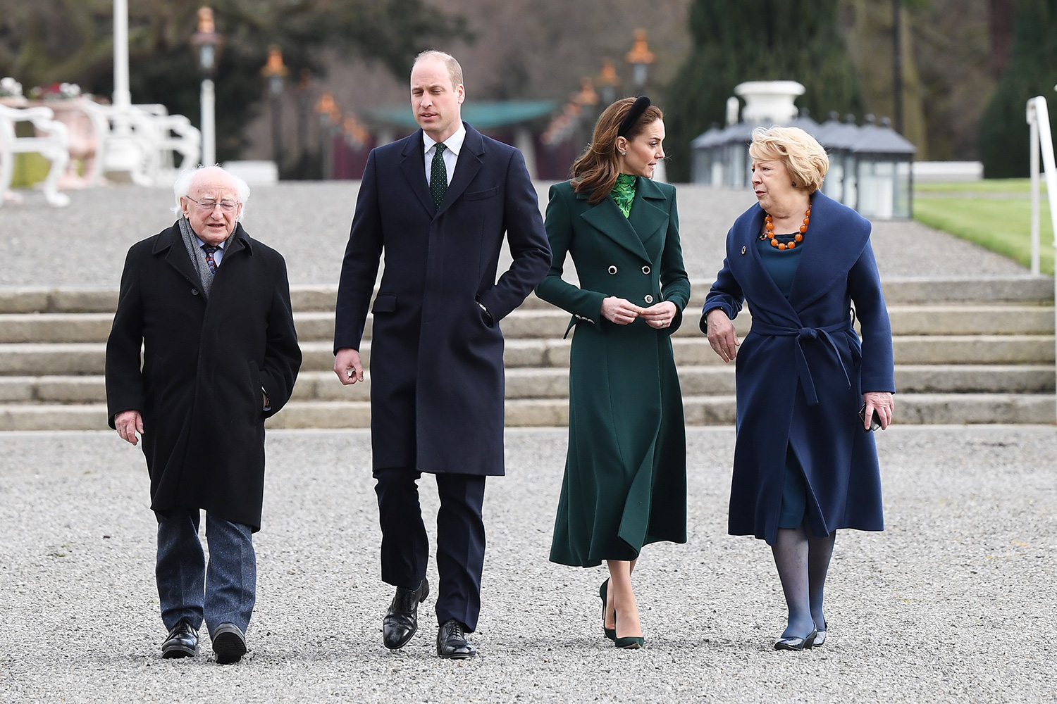 Prince William, Duke of Cambridge, President of Ireland Michael D. Higgins, Catherine, Duchess of Cambridge and Sabina Coyne