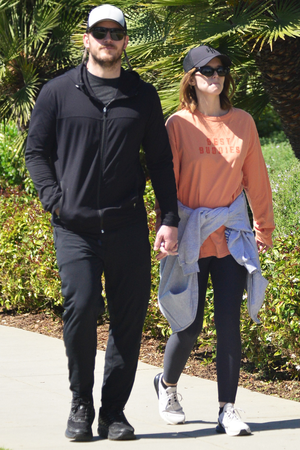 Chris Pratt And Wife Katherine Schwarzenegger Pratt Hold Hands During The Coronavirus Outbreak As They Go For A Walk Overlooking The Pacific Ocean Near Their Santa Monica, Ca Home