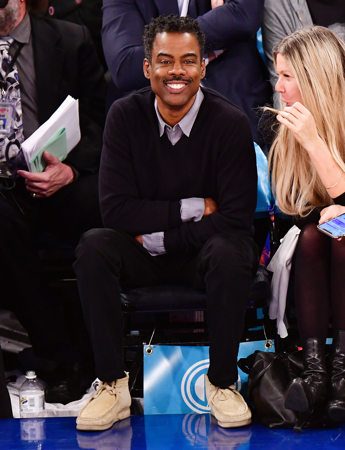 Chris Rock attends Houston Rockets v New York Knicks game at Madison Square Garden on March 2, 2020 in New York City