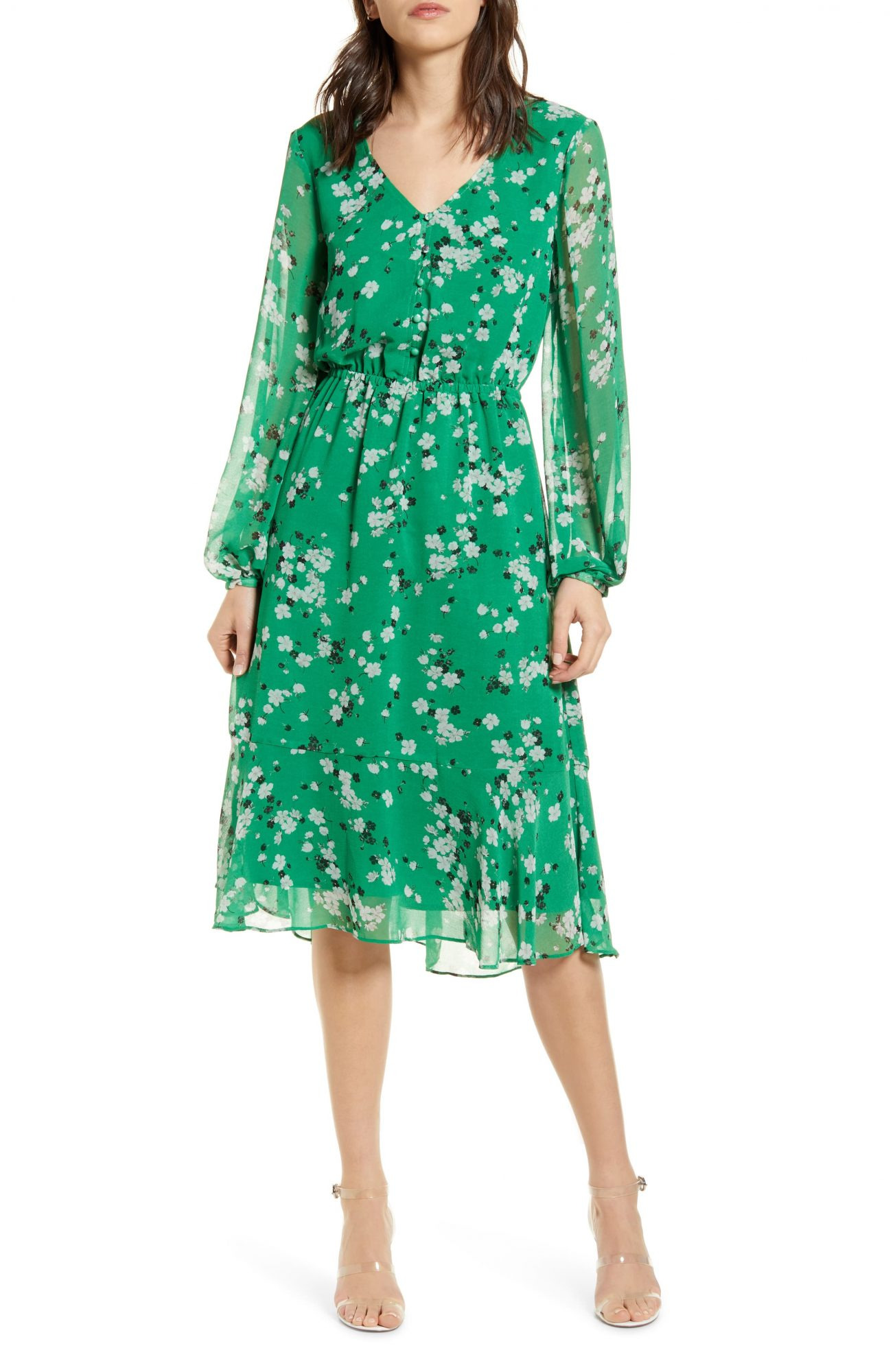 cupcakes and cashmere green floral print midi dress nordstrom
