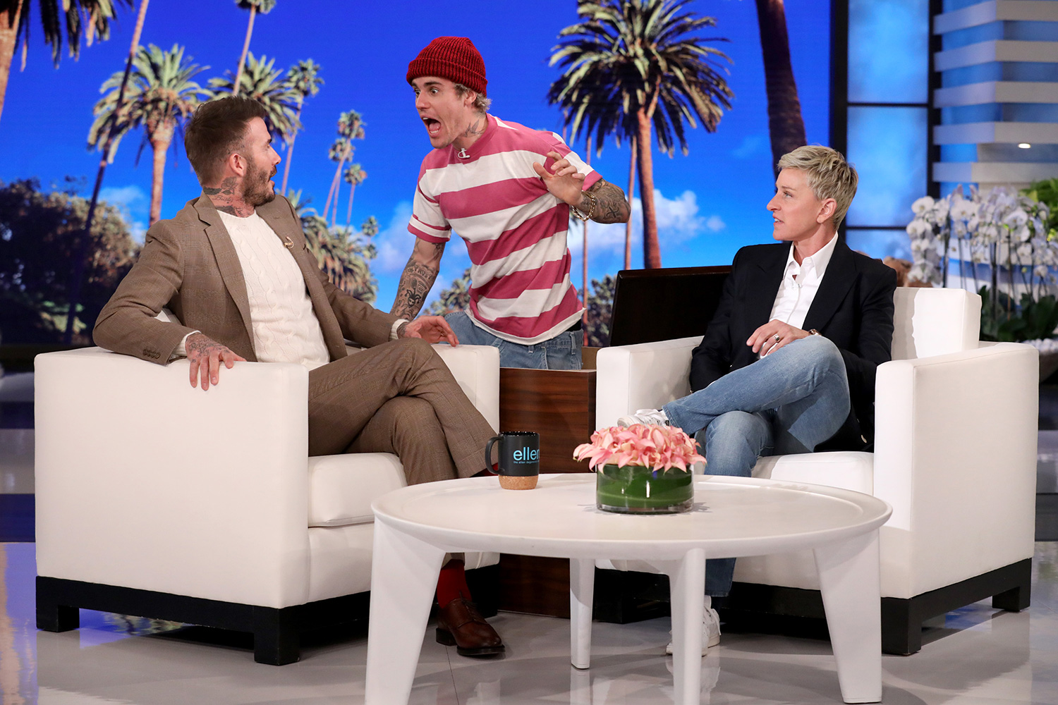"Justin Bieber Scares David Beckham on ""The Ellen DeGeneres Show"""