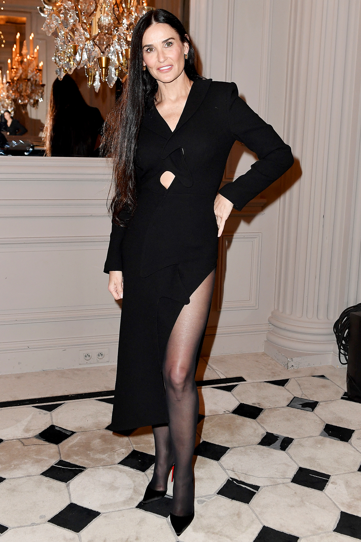 Demi Moore attends the Monot show as part of the Paris Fashion Week Womenswear Fall/Winter 2020/2021 on February 29, 2020 in Paris, France.