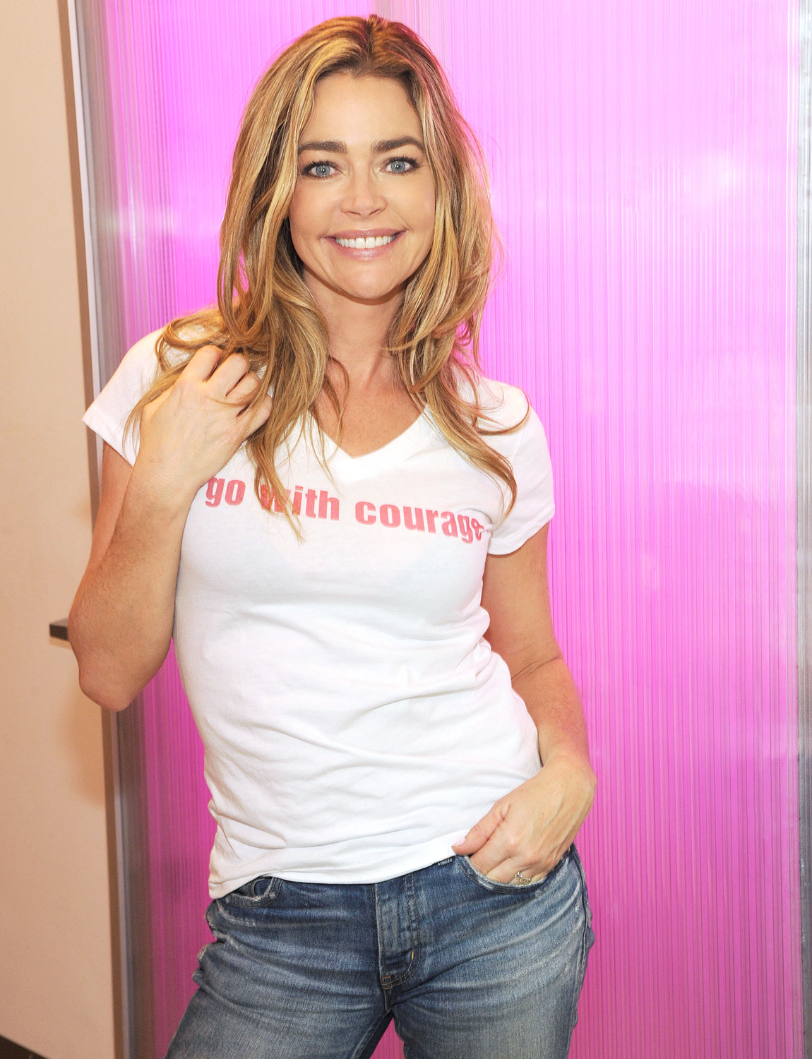 Denise Richards Promoting the Cancer Charity Go With Courage