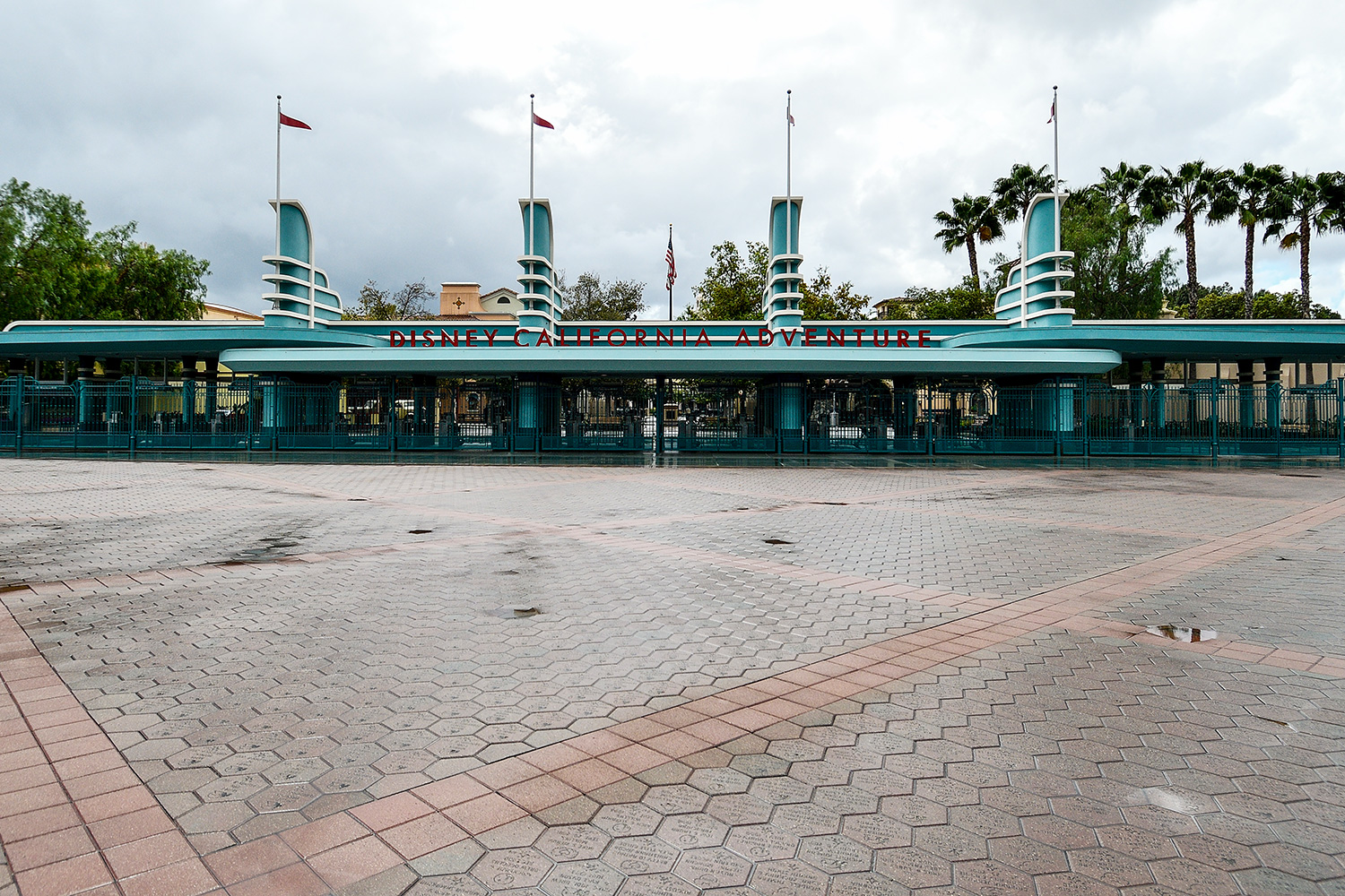 The entrance to Disney California Adventure is deserted as the entire Disneyland Resort shuts down due to the coronavirus (COVID-19) outbreak in Anaheim, CA, on Monday, Mar 16, 2020