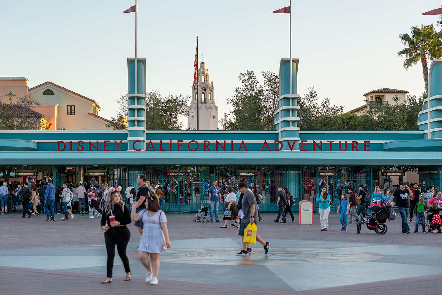 Visitors attend Disney California Adventure theme park on February 25, 2020 in Anaheim, California